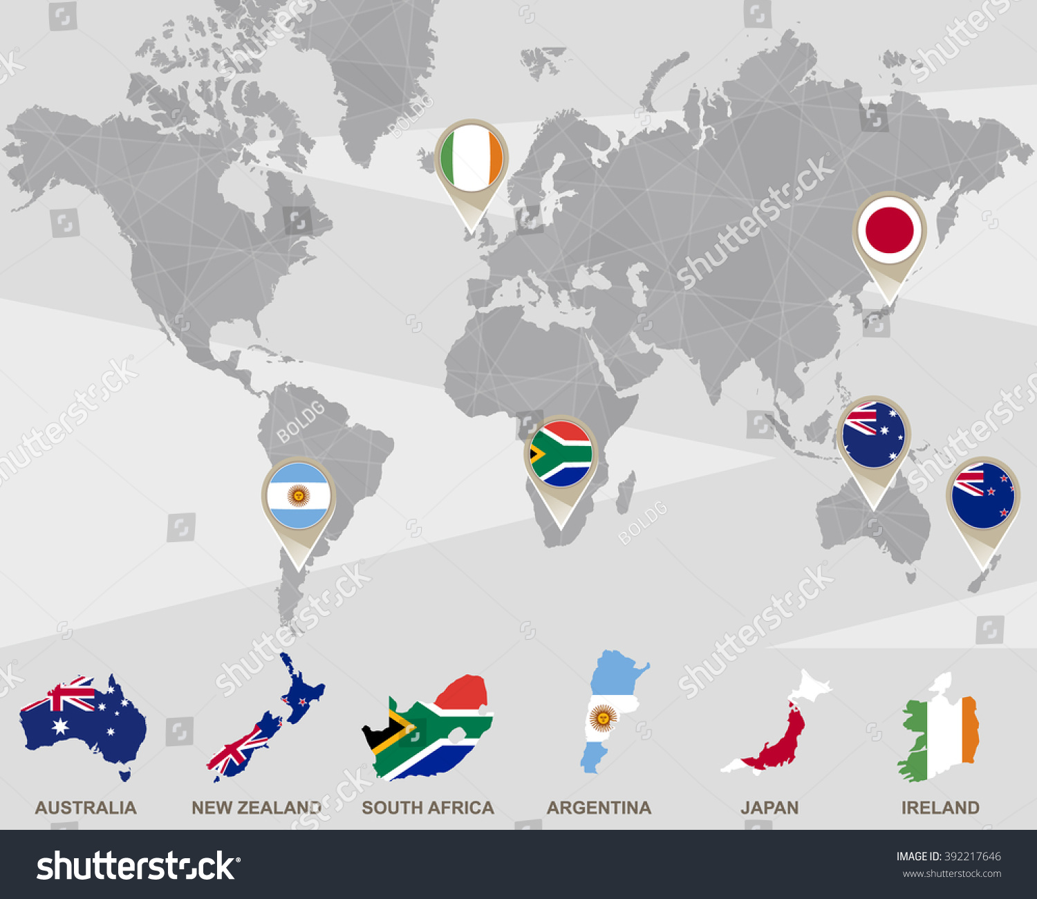 World map australia new zealand south stock illustration 392217646 world map with australia new zealand south africa argentina japan ireland gumiabroncs Image collections