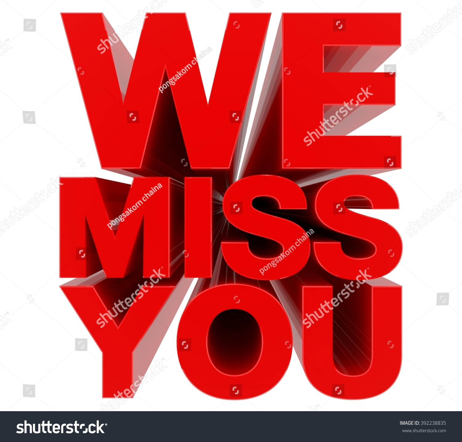 We Miss You Red Word On Stock Illustration 392238835 - Shutterstock