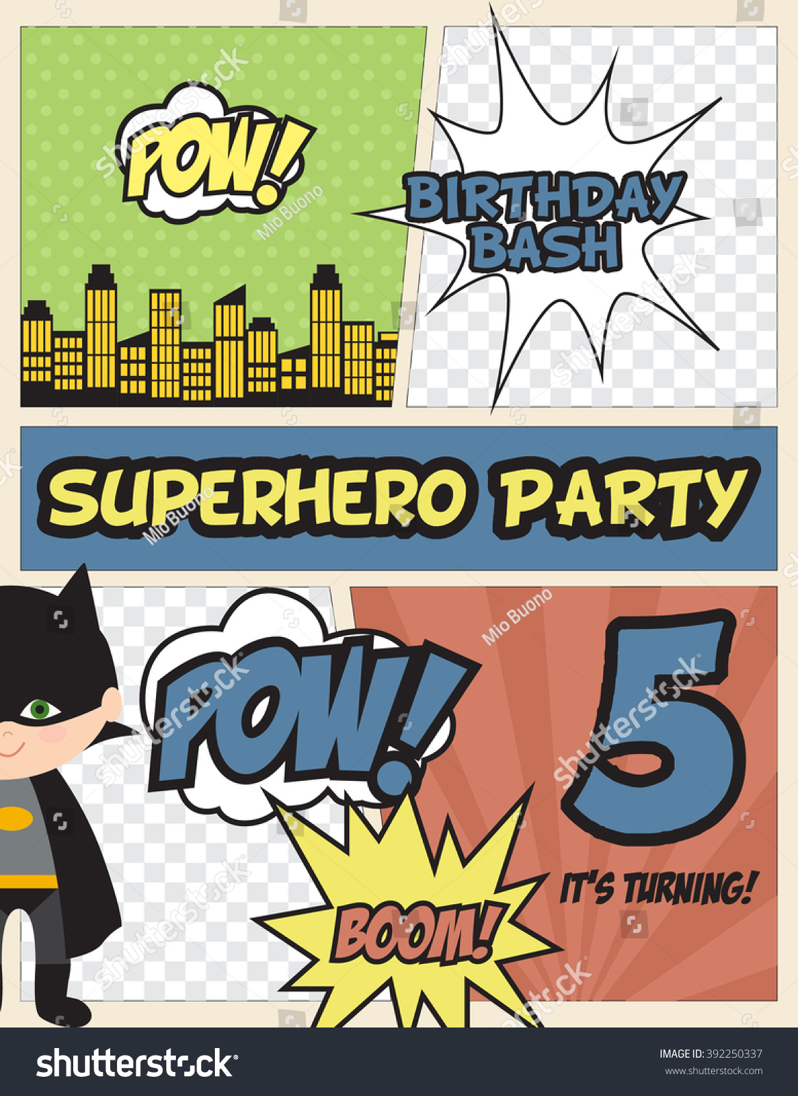Superhero Party Invitation Card Stock Vector HD (Royalty Free ...