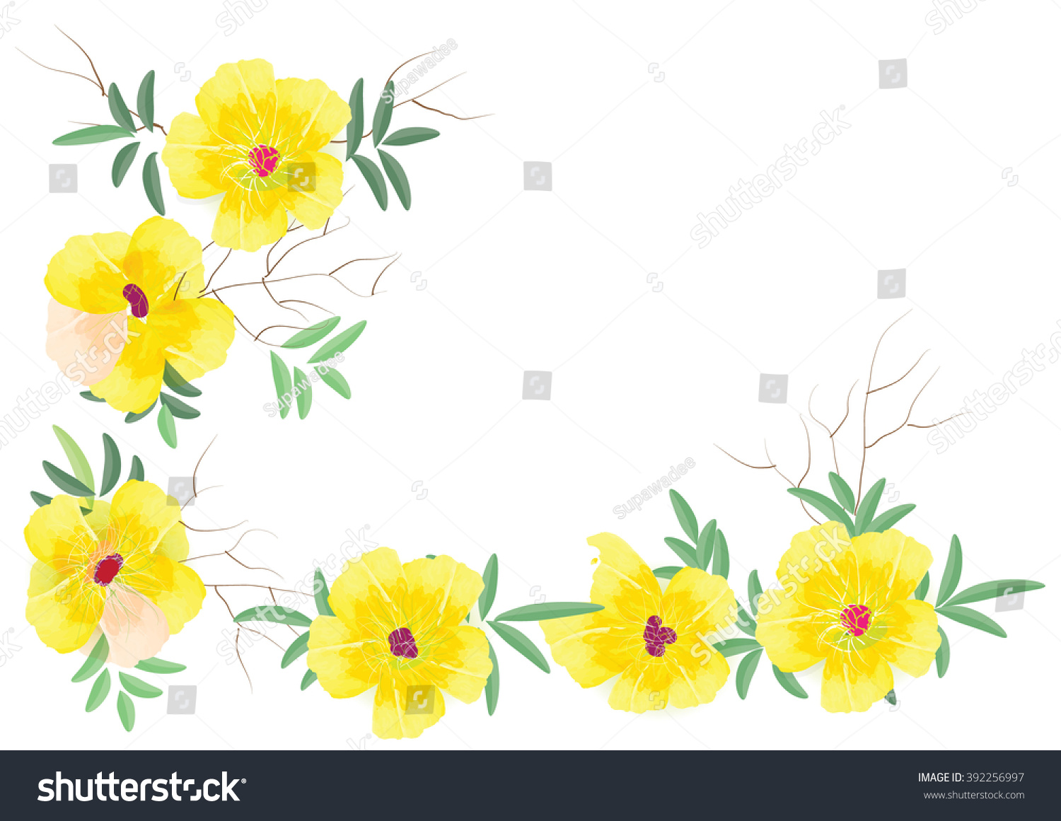 Yellow Frame Flowers Border Yellow Flowers Stock Vector Royalty