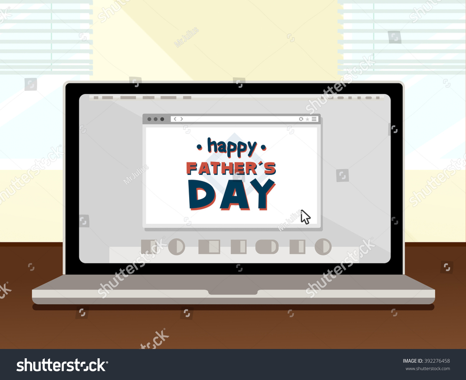 Happy Fathers Day Laptop Stock Illustration 392276458