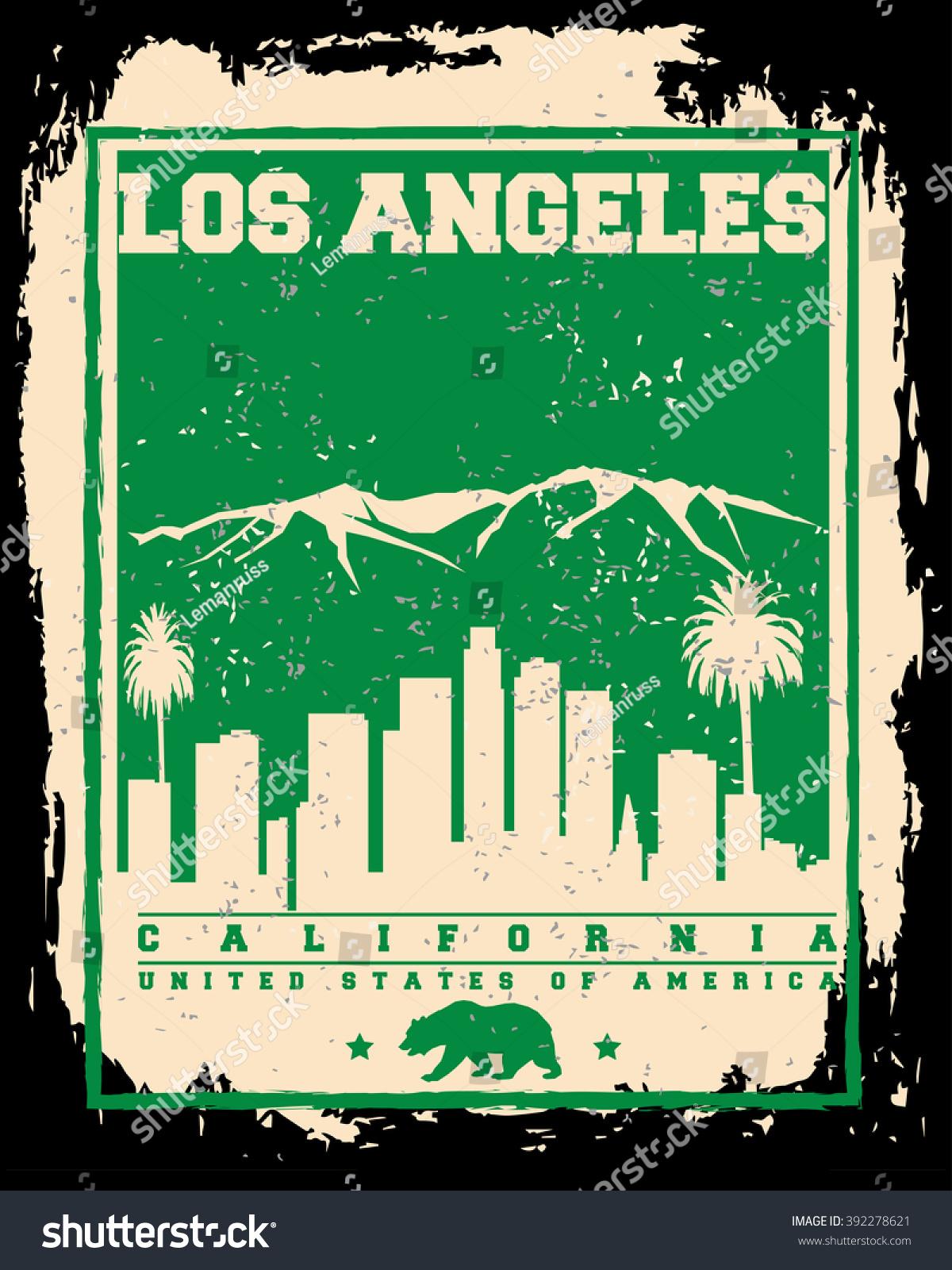 Poster design los angeles - Los Angeles City Concept Logo Label T Shirt Design La