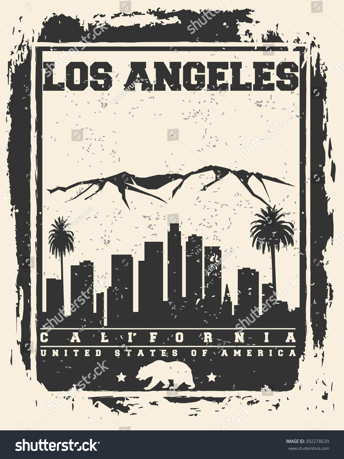 Los Angeles City Concept Logo Label Stock Vector - Los angeles poster black and white