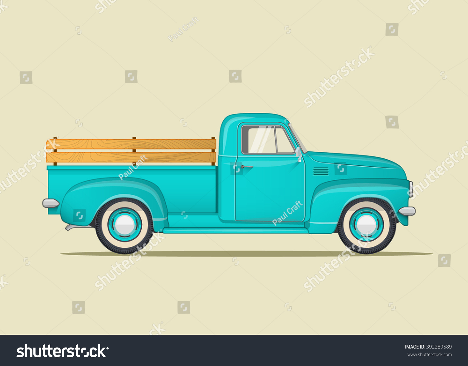 Classic Pickup Truck Flat Styled Vector Illustration