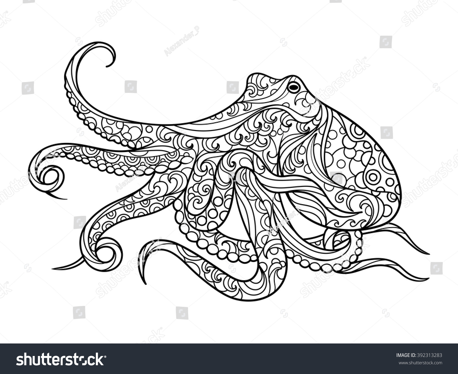 Octopus Sea Animal Coloring Book For Adults Vector Illustration Anti Stress Adult Zentangle Style Black And White Lines