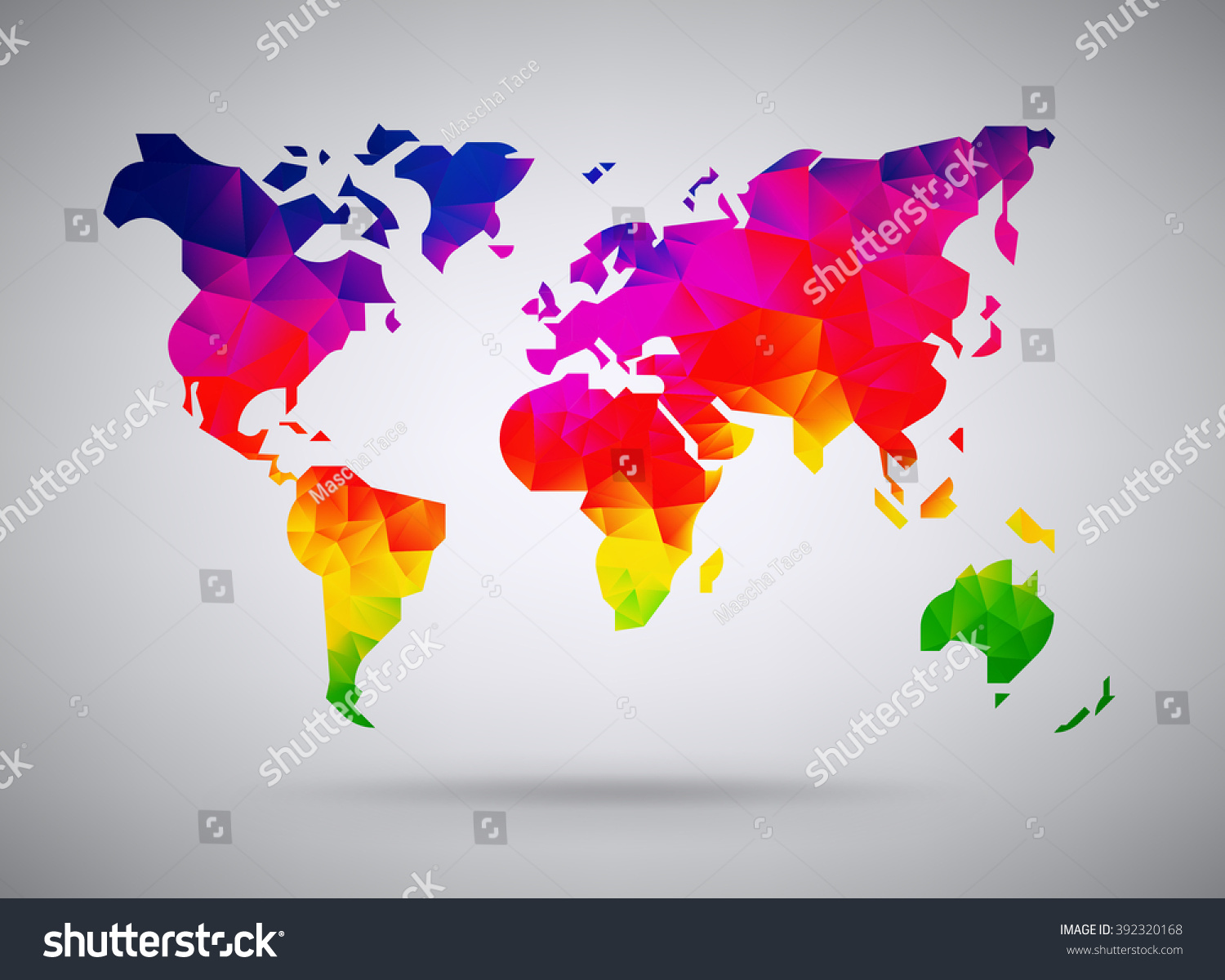 Cool abstract colorful rainbow stylized world vectores en stock cool abstract colorful rainbow stylized world map background in polygonal style continents map low poly gumiabroncs Choice Image