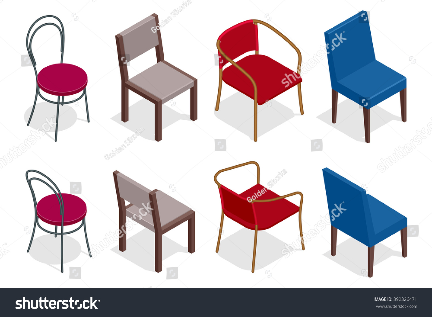 Set chairs flat 3d isometric illustration image for 3d flat design online