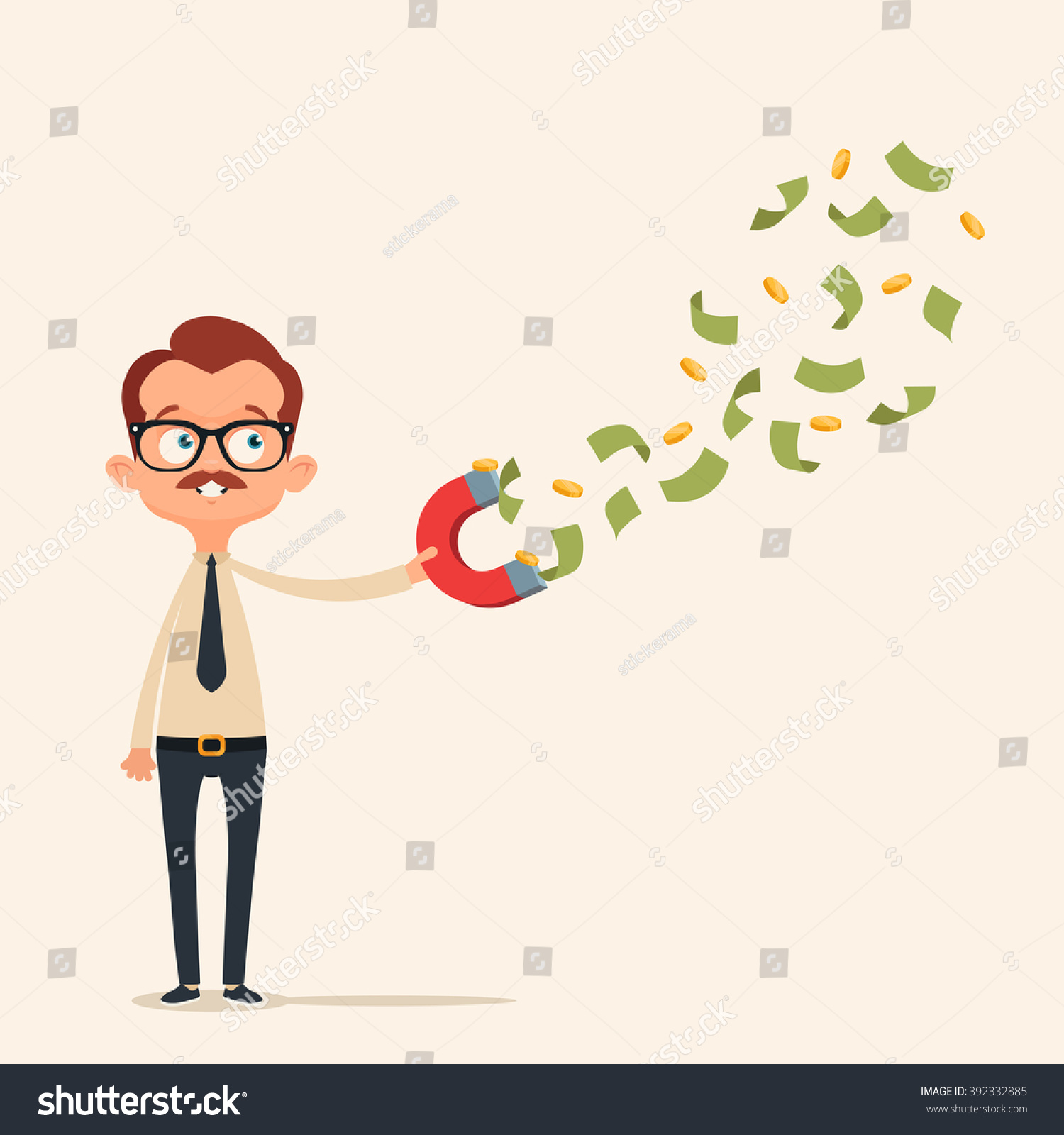 happy office worker collecting money magnet stock vector royalty