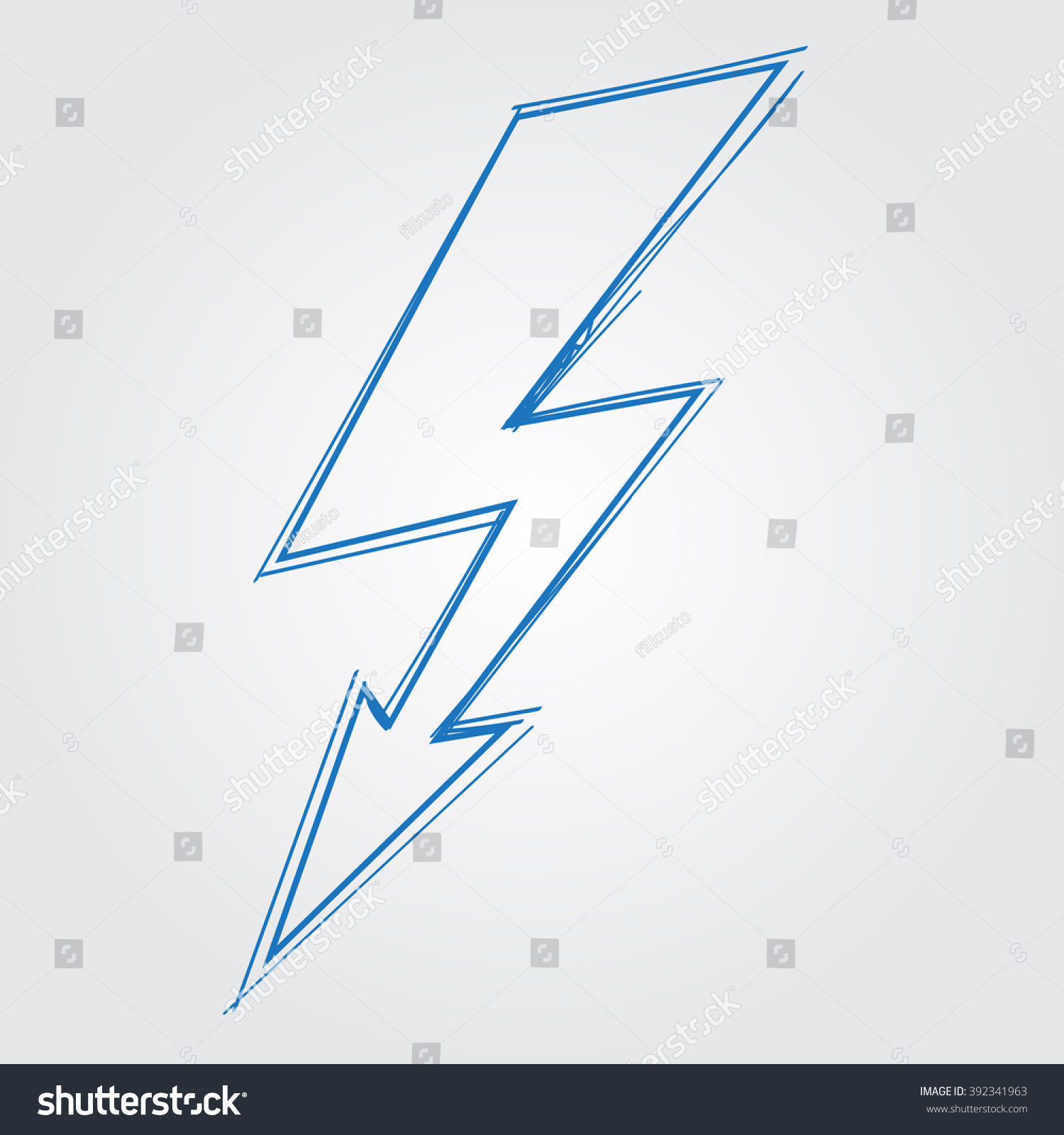 Lightning Electric Charge Logo Outline Drawing Stock Photo Photo