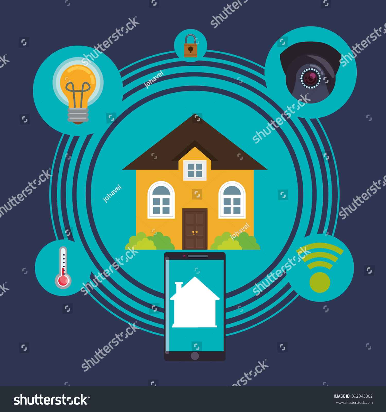 Home Automation Design Stock Vector 392345002 Shutterstock