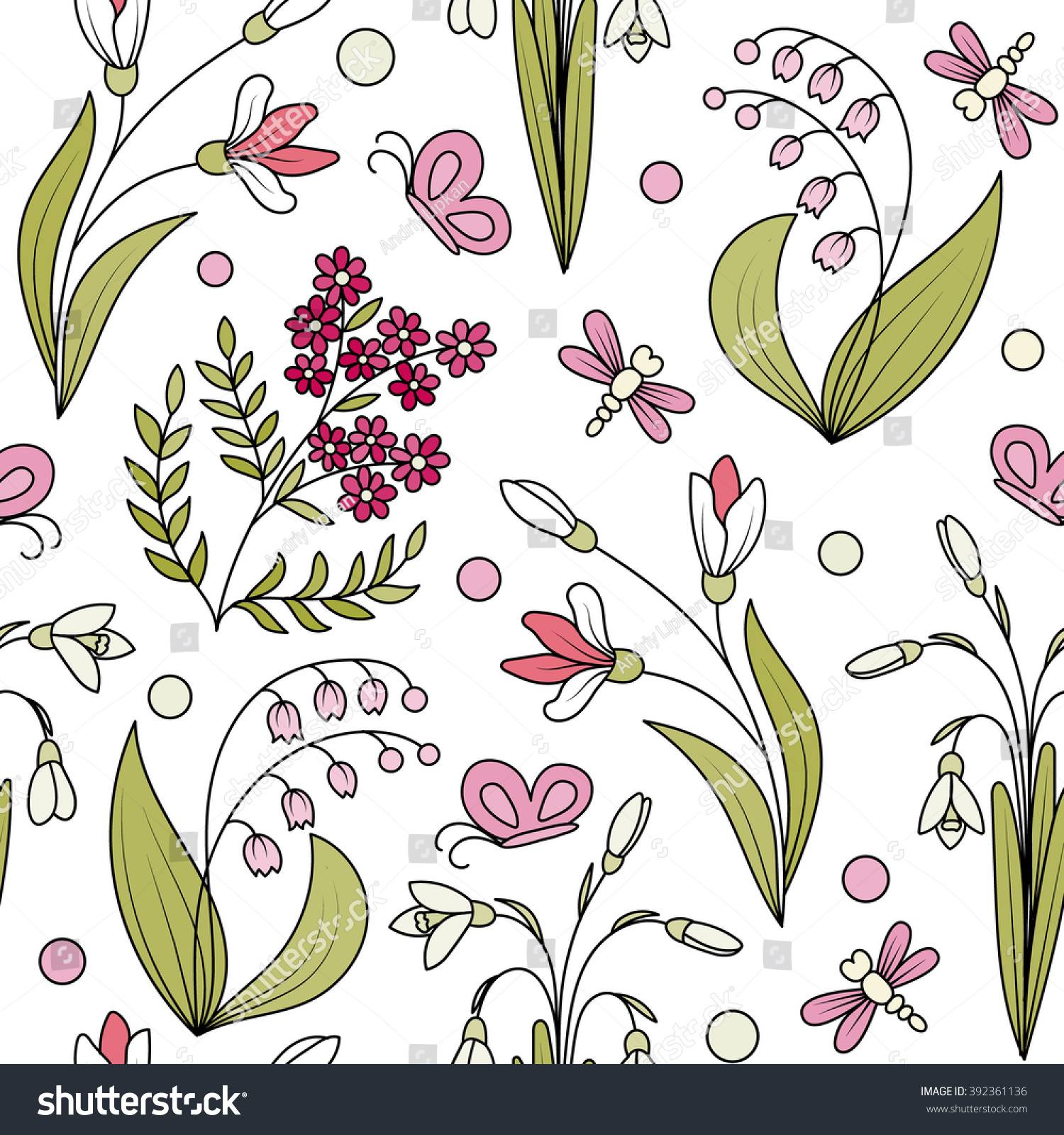 Seamless Pattern Hand Draw Spring Flowers Stock Vector Royalty Free