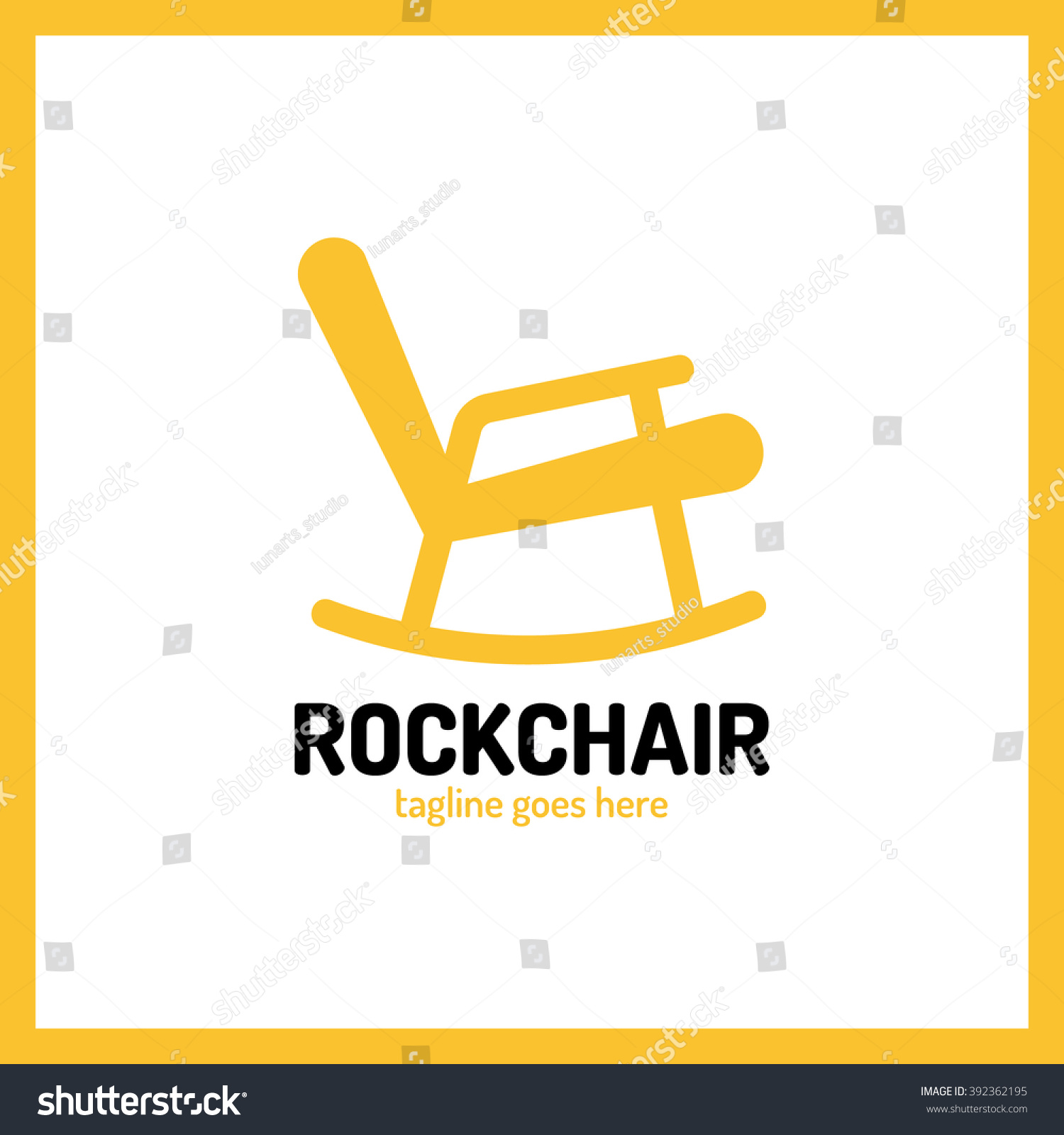 Chair Rocking Furniture Icon Vector Logo Stock Vector
