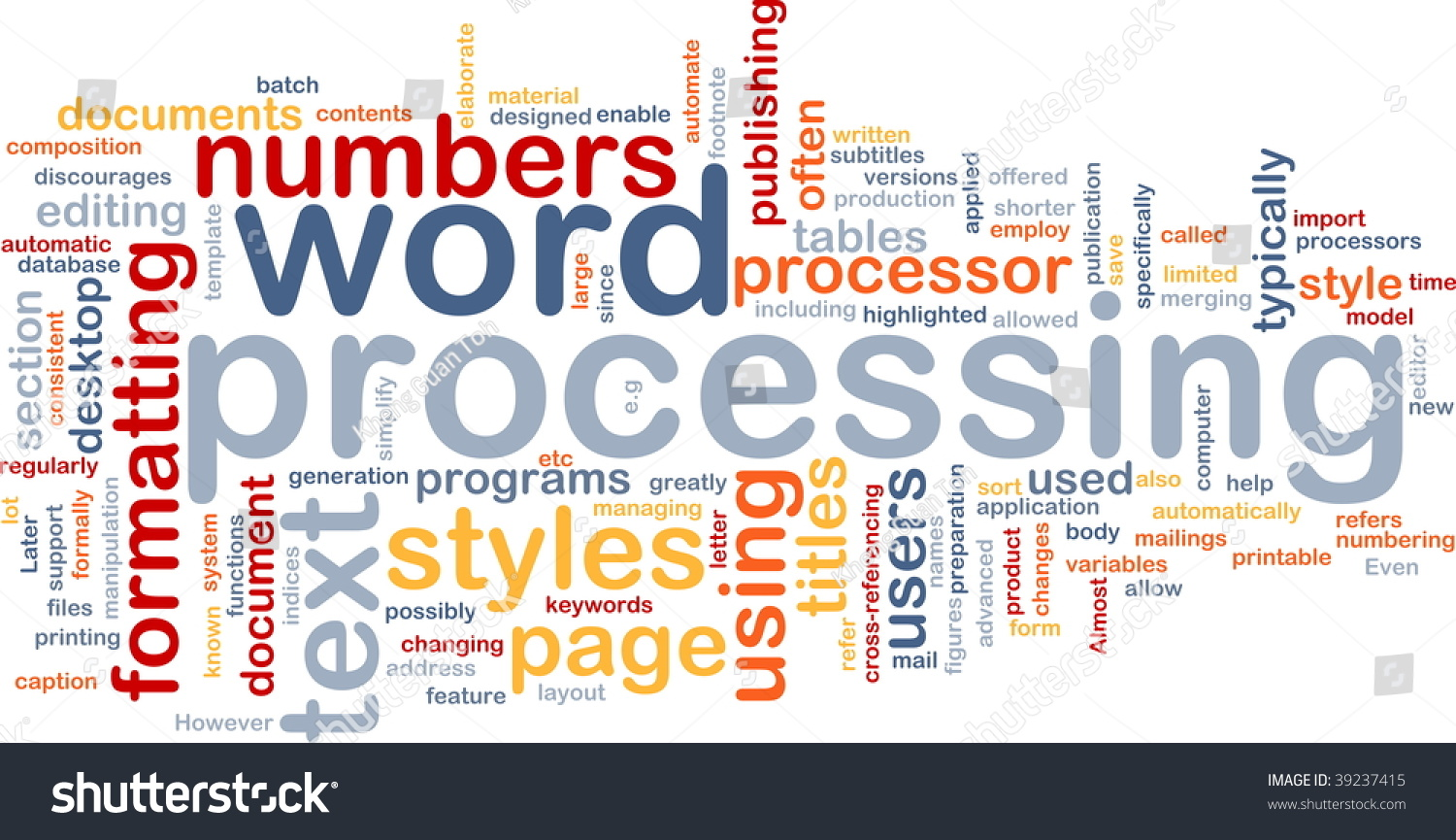 word processing Word processing describes the process of creating or editing a document using a word processor, such as microsoft word or openoffice writer for example, with a word processor, a student could create a book report and then print it, save it to a disk, display it on the screen, or send it over e-mail.