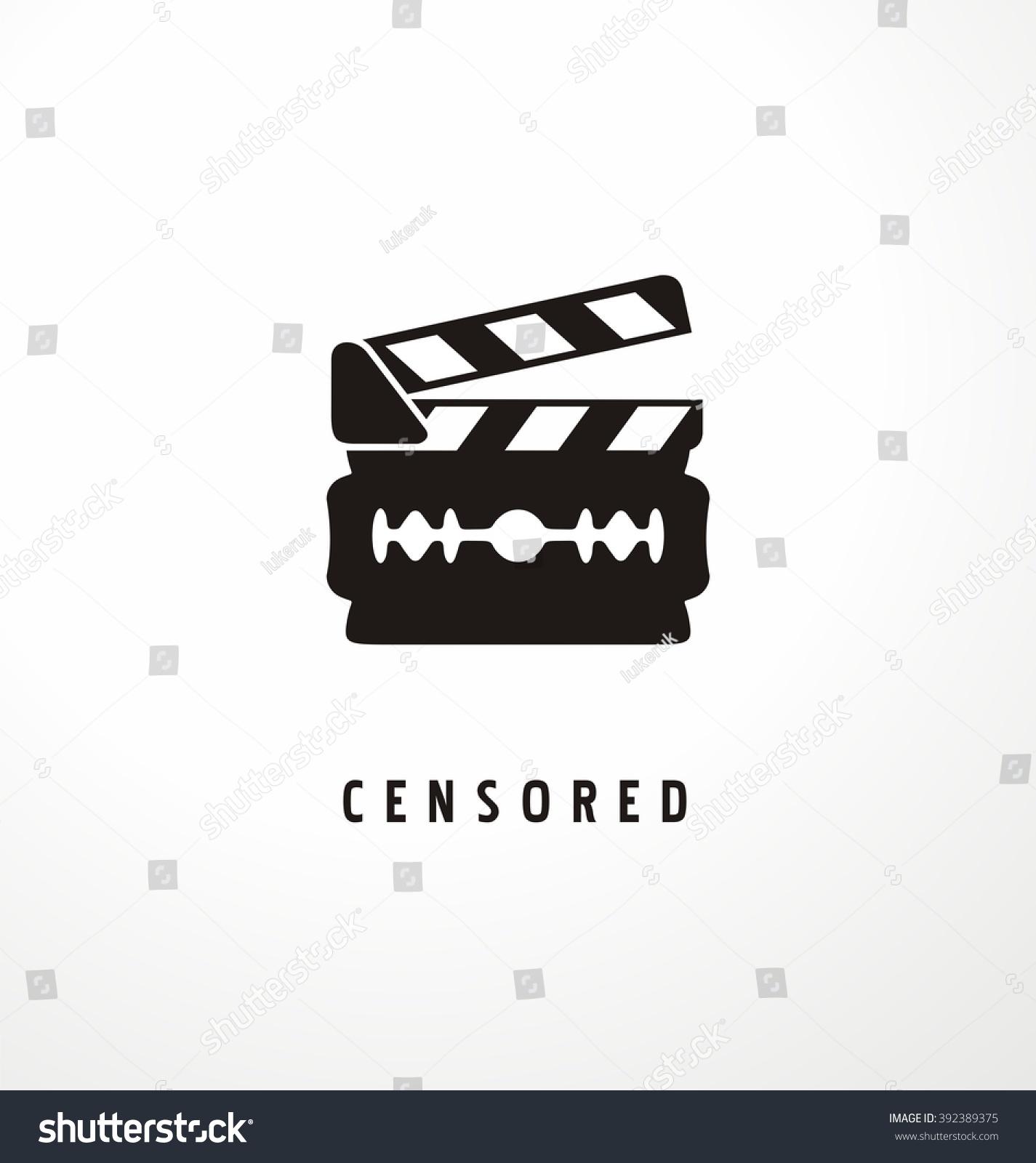 Creative symbol concept movie censure razor stock vector 392389375 creative symbol concept for movie censure razor shape with clapper board logo design idea biocorpaavc