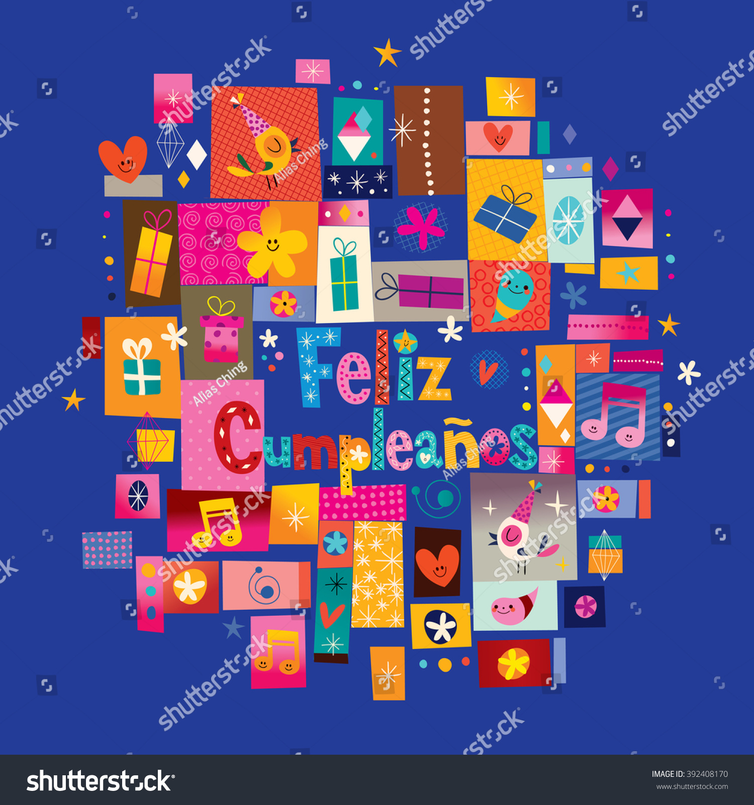 feliz cumpleanos happy birthday spanish greeting stock vector, Birthday card