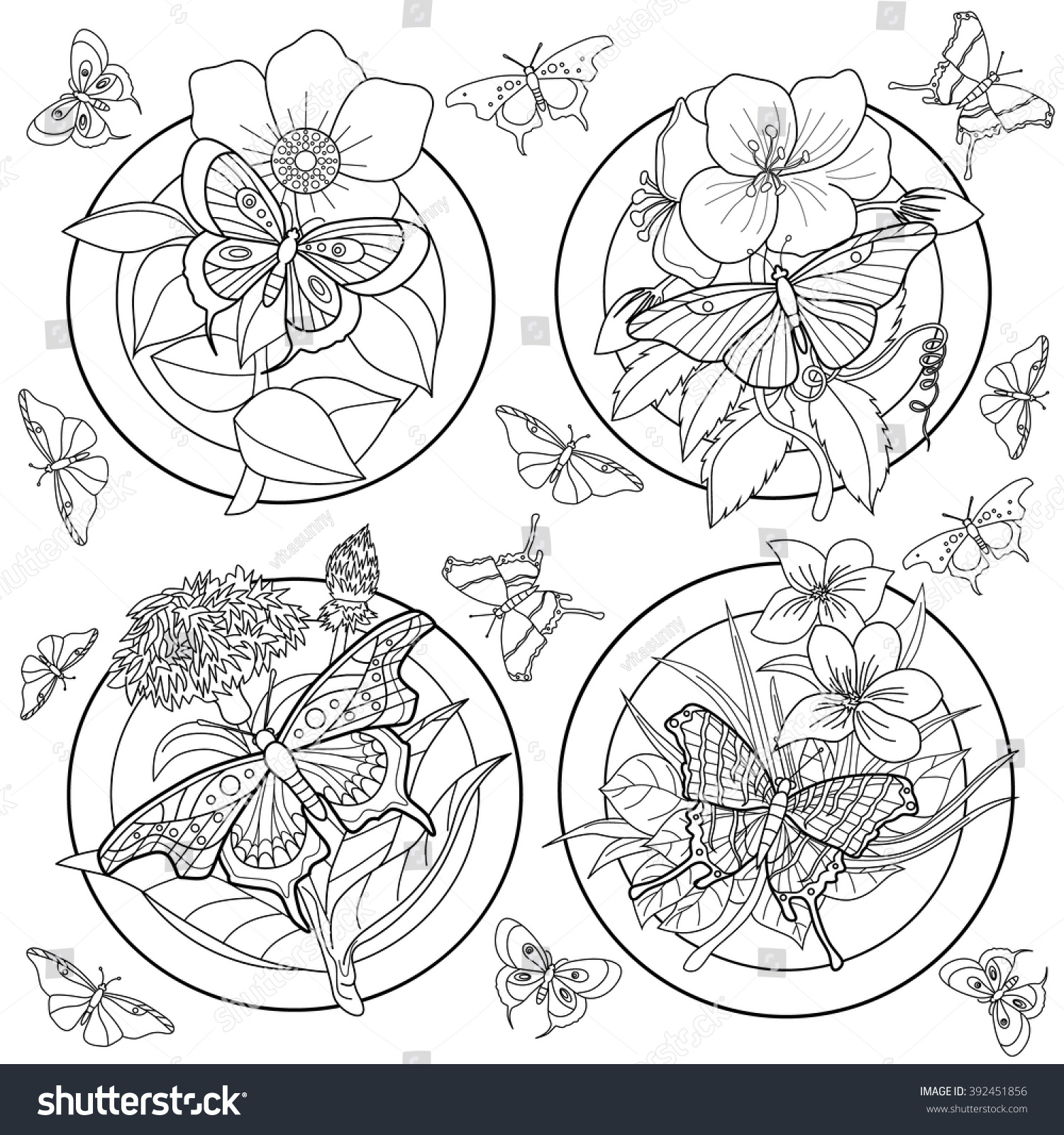 Coloring Page Adults Butterflies Flowers Stock Vector 392451856 ...