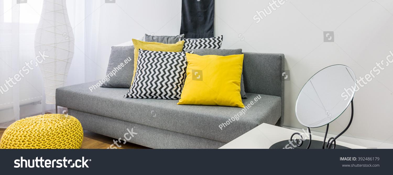 Close Grey Sofa Decor Cushions Black Stock Photo Edit Now 392486179