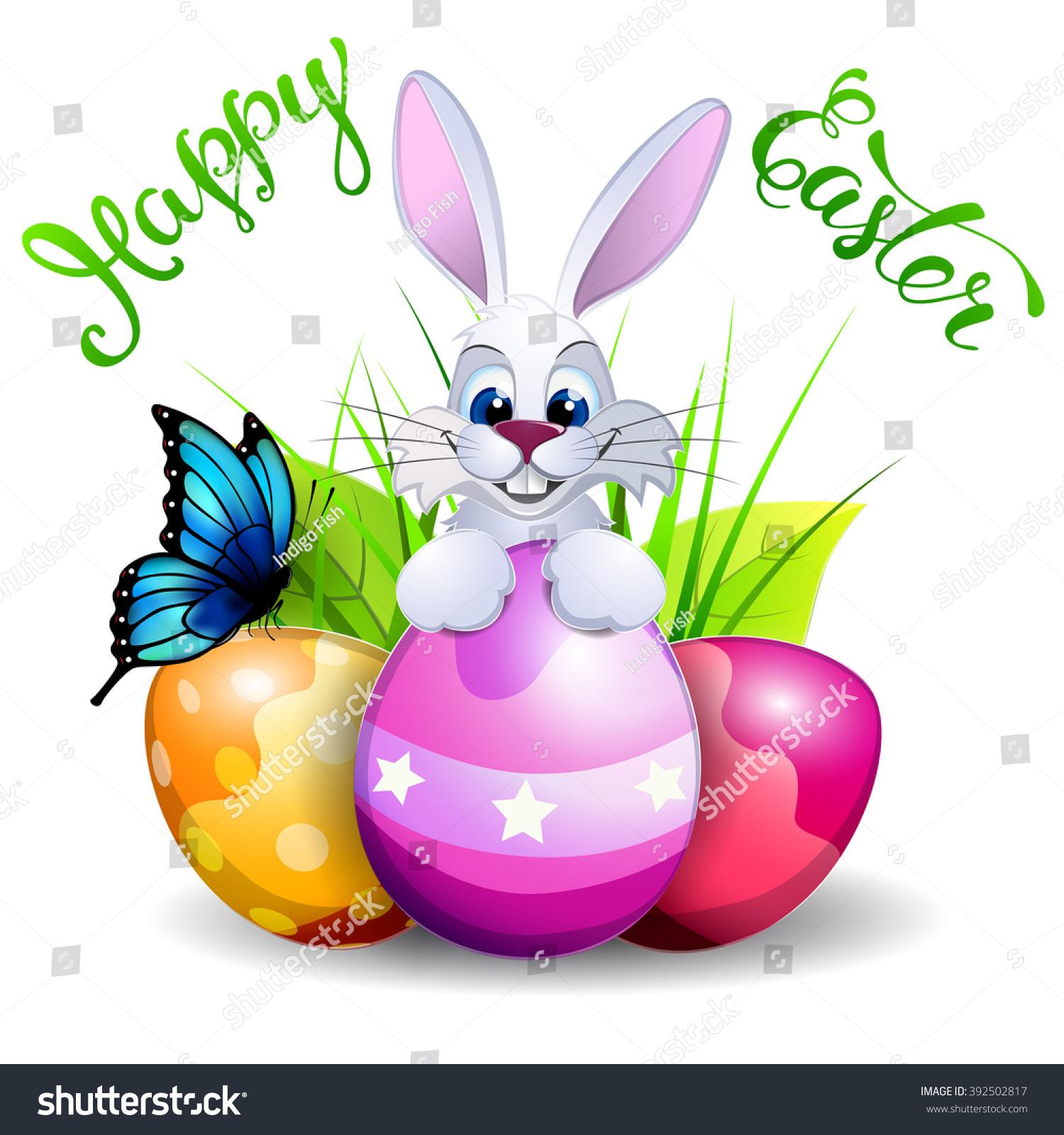 Easter Greeting Card Easter Symbols Handwritten Stock Vector