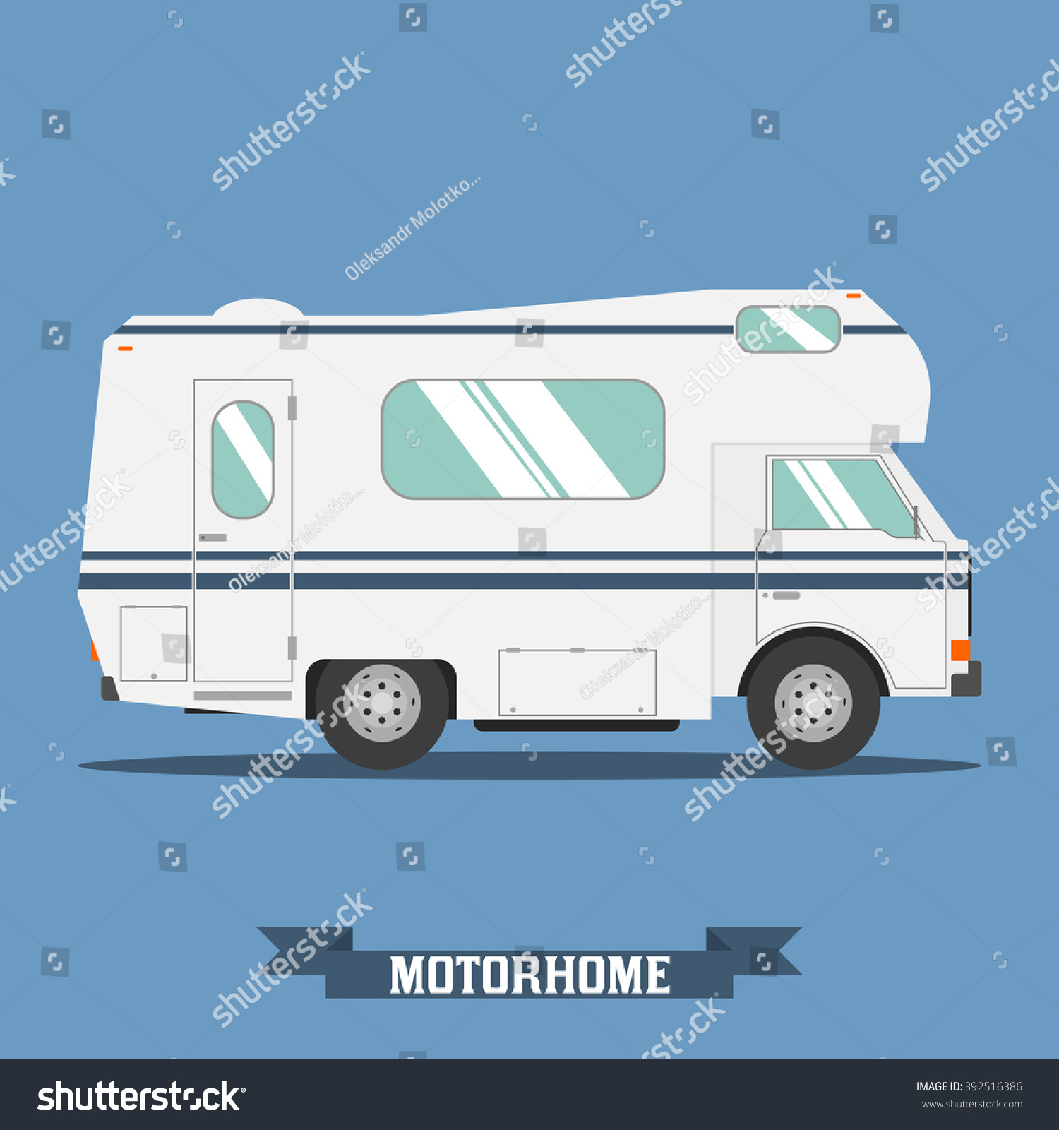 Rv Mobile Home Truck Traveler Flat Vector Icon Recreational Motor Vehicle