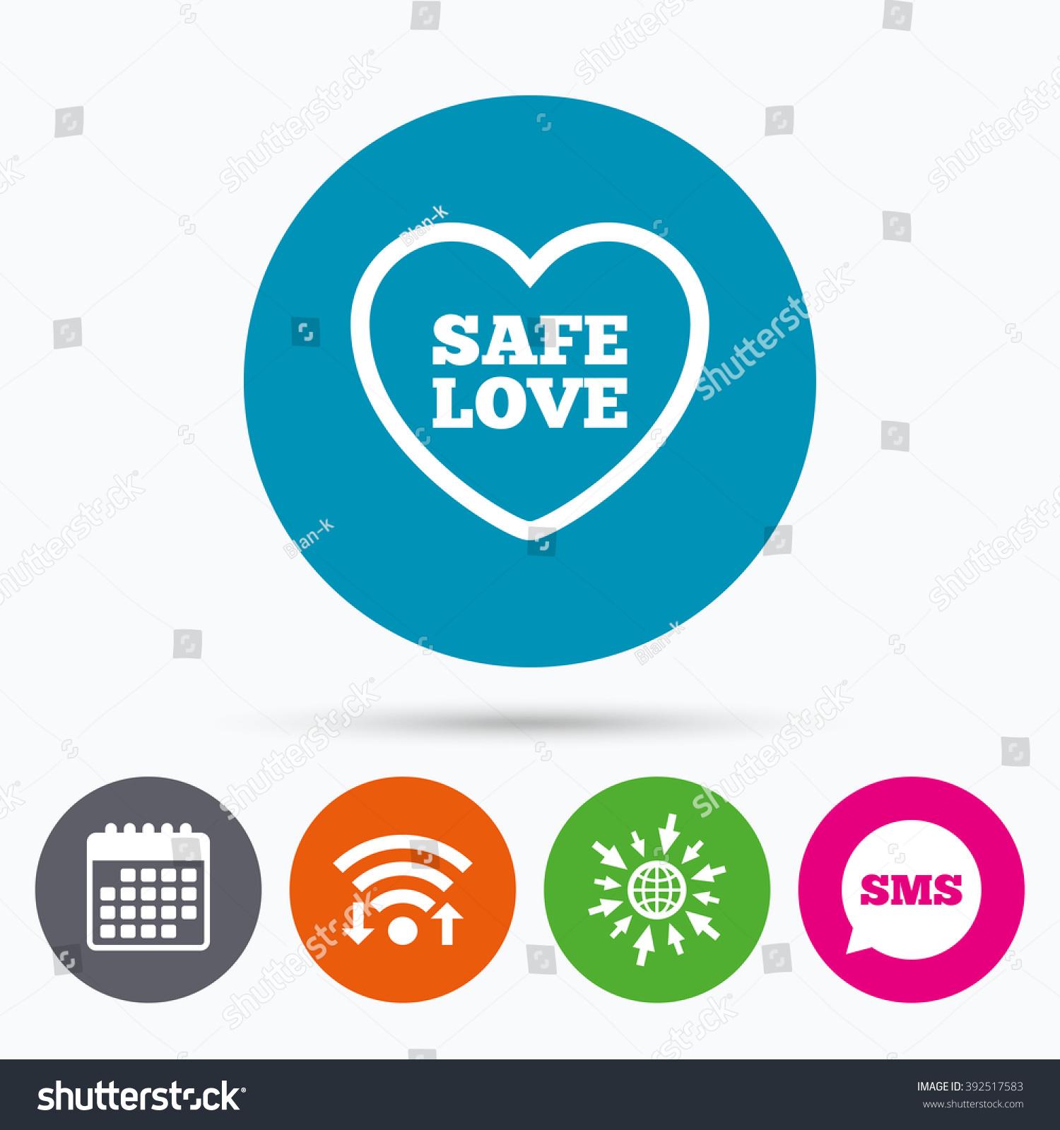 Wifi sms calendar icons safe love stock vector 392517583 wifi sms and calendar icons safe love sign icon safe sex symbol buycottarizona