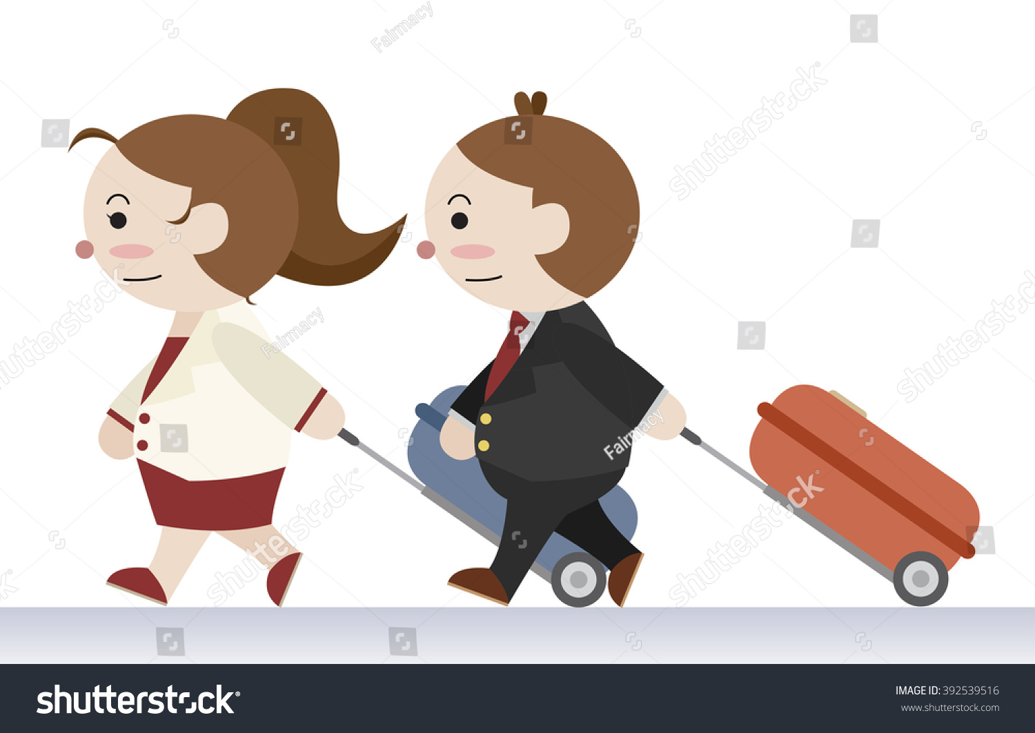 couple travel together cartoon vector