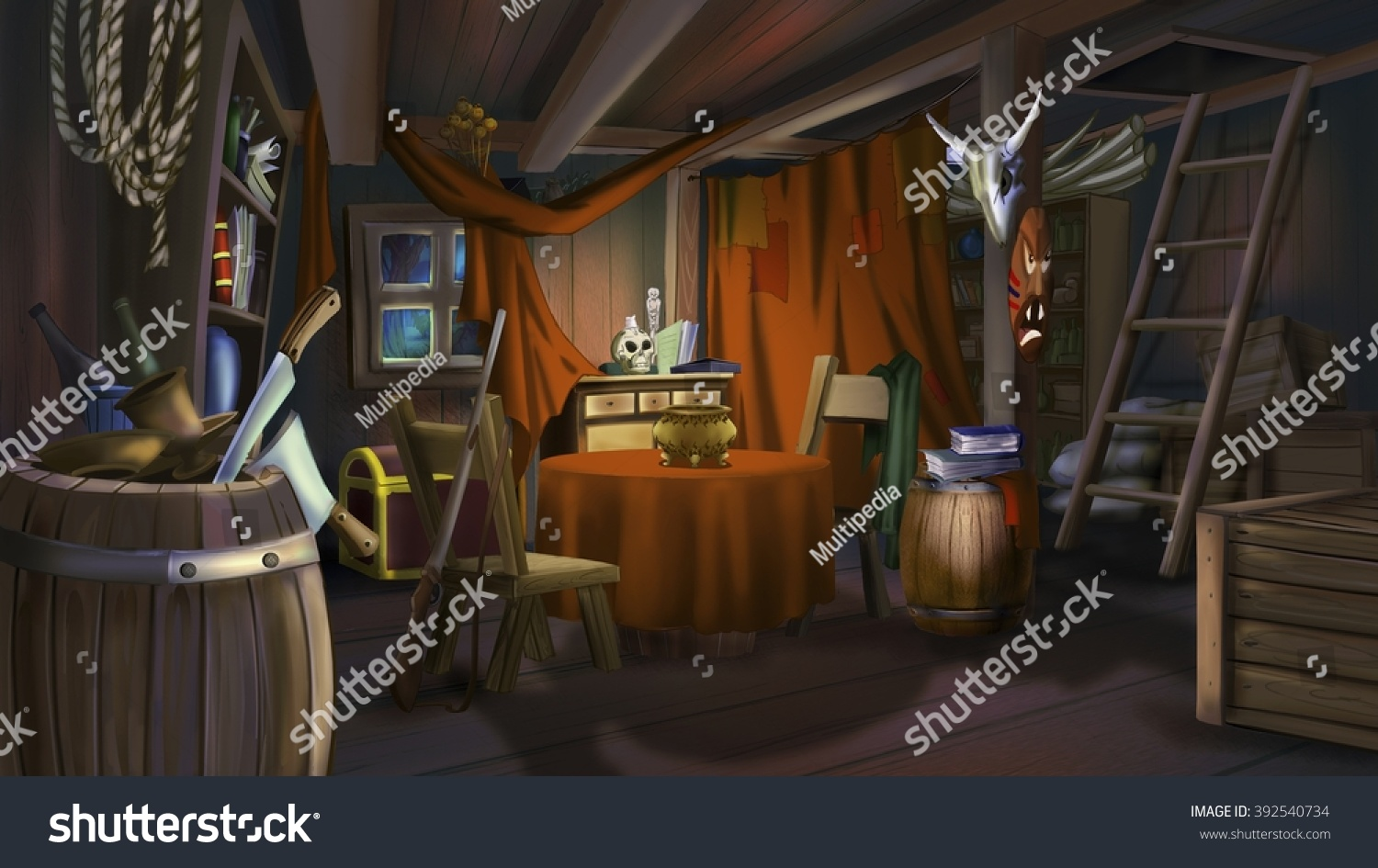 Digital painting bandits house stock illustration for Digitally paint your house