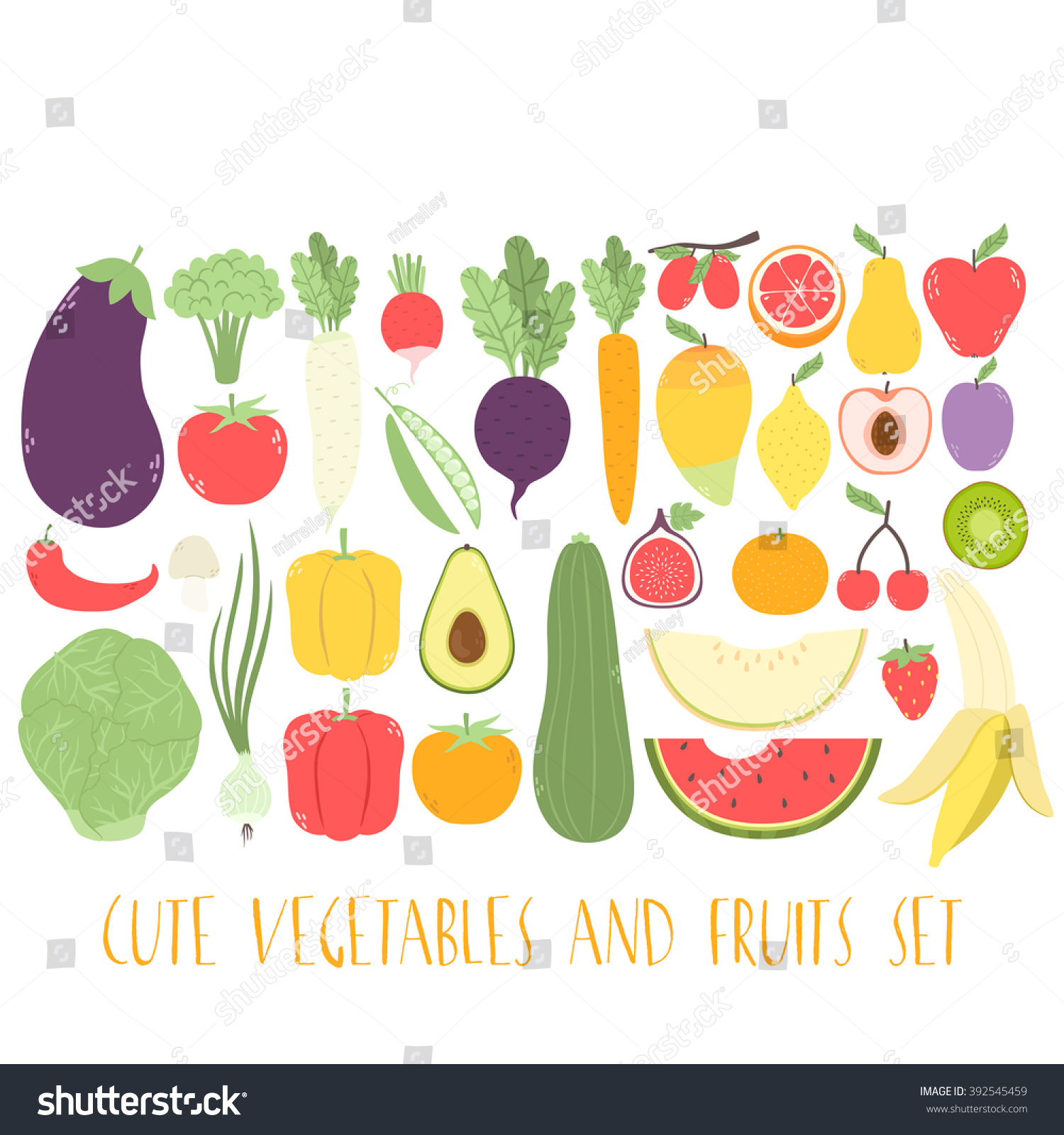 Huge Set Cute Fruits Vegetables Can Stock Vector Royalty Free