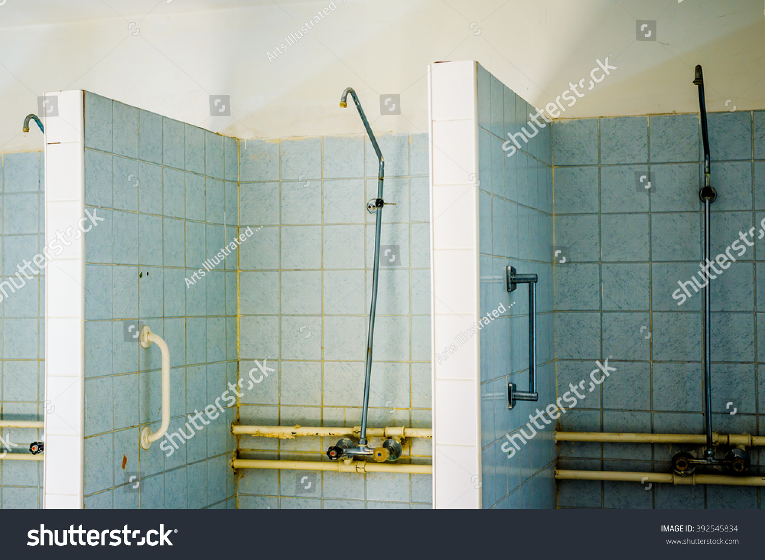 Blue Tiled Weathered Shower Cabins Row Stock Photo (Royalty Free ...