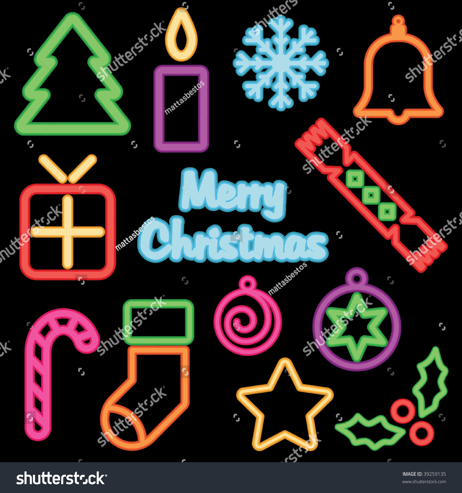 Christmas Signs Neon Christmas Signs No Gradients Isolated On True Black Stock