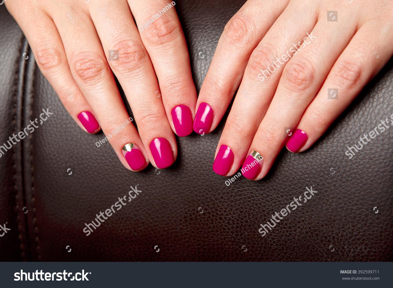 Beautifully Manicured Fingernails Fuchsia Nail Polish Stock Photo ...