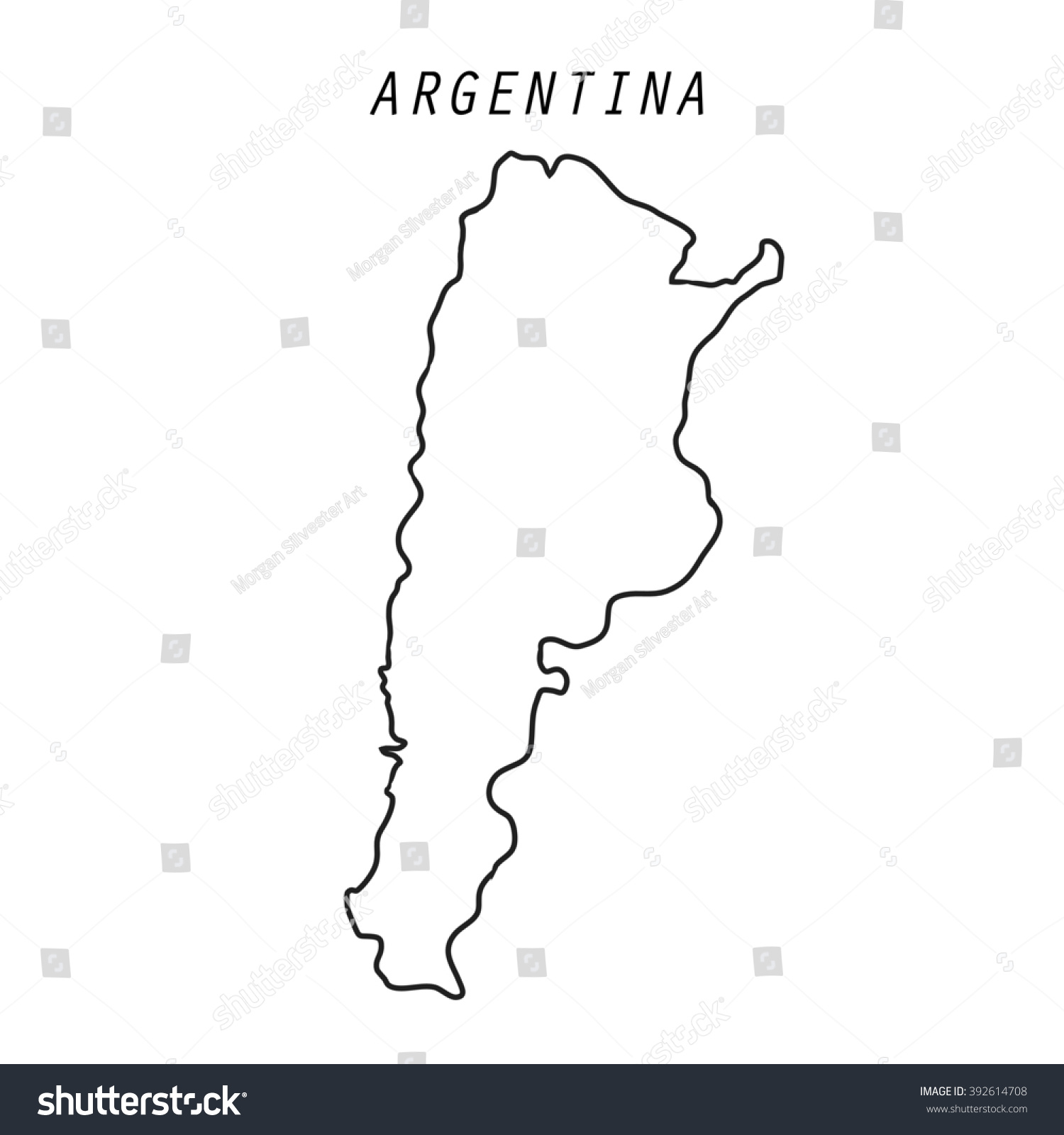 Argentina Map Outline Isolated Stock Illustration - Argentina map outline