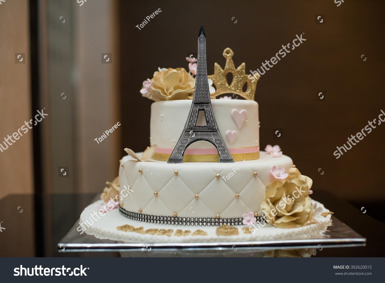 Birthday Cake Eiffel Tower Stock Photo Edit Now 392620015