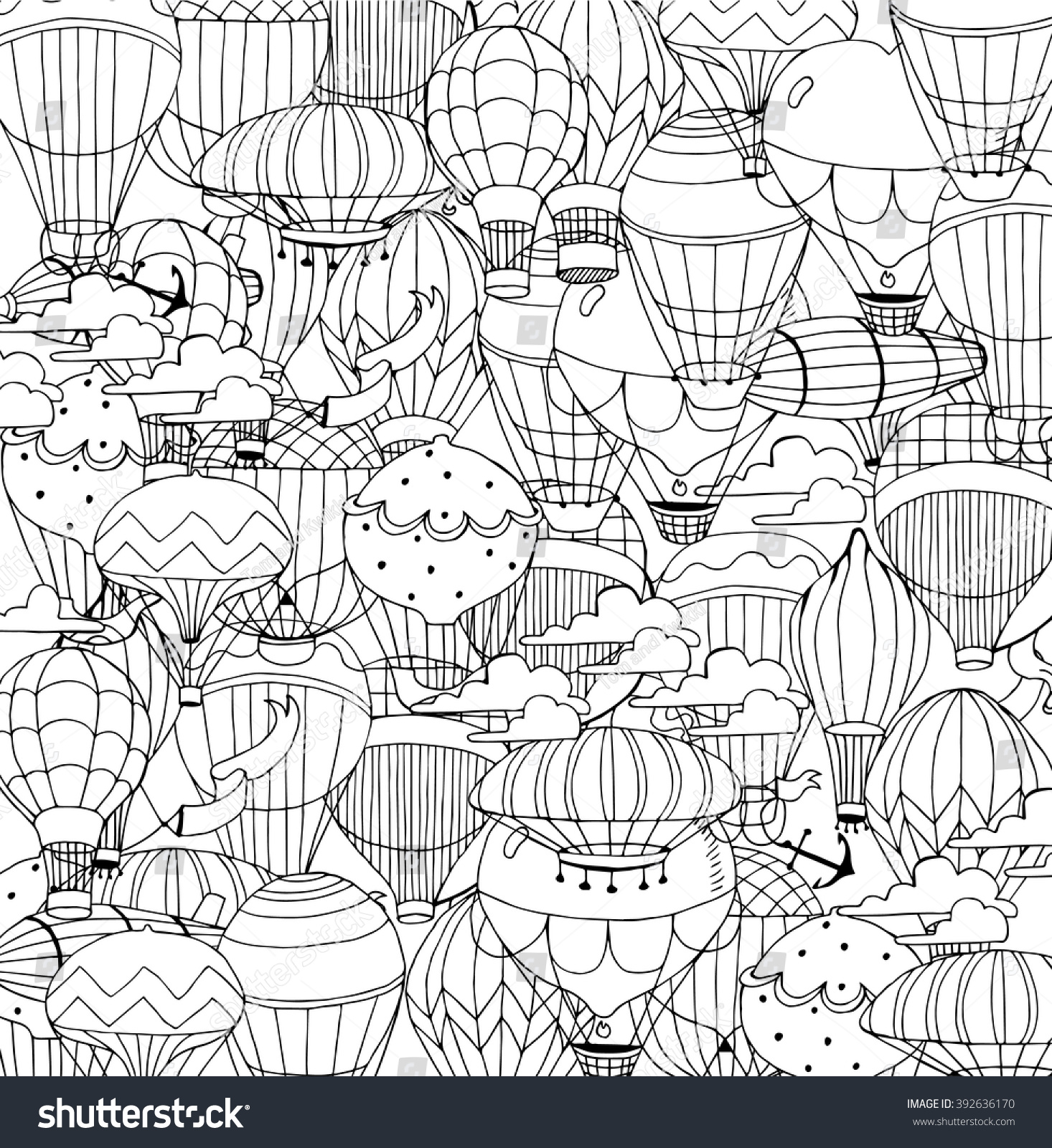 Hot Air Balloons Sky Coloring Page Stock Vector 392636170 - Shutterstock