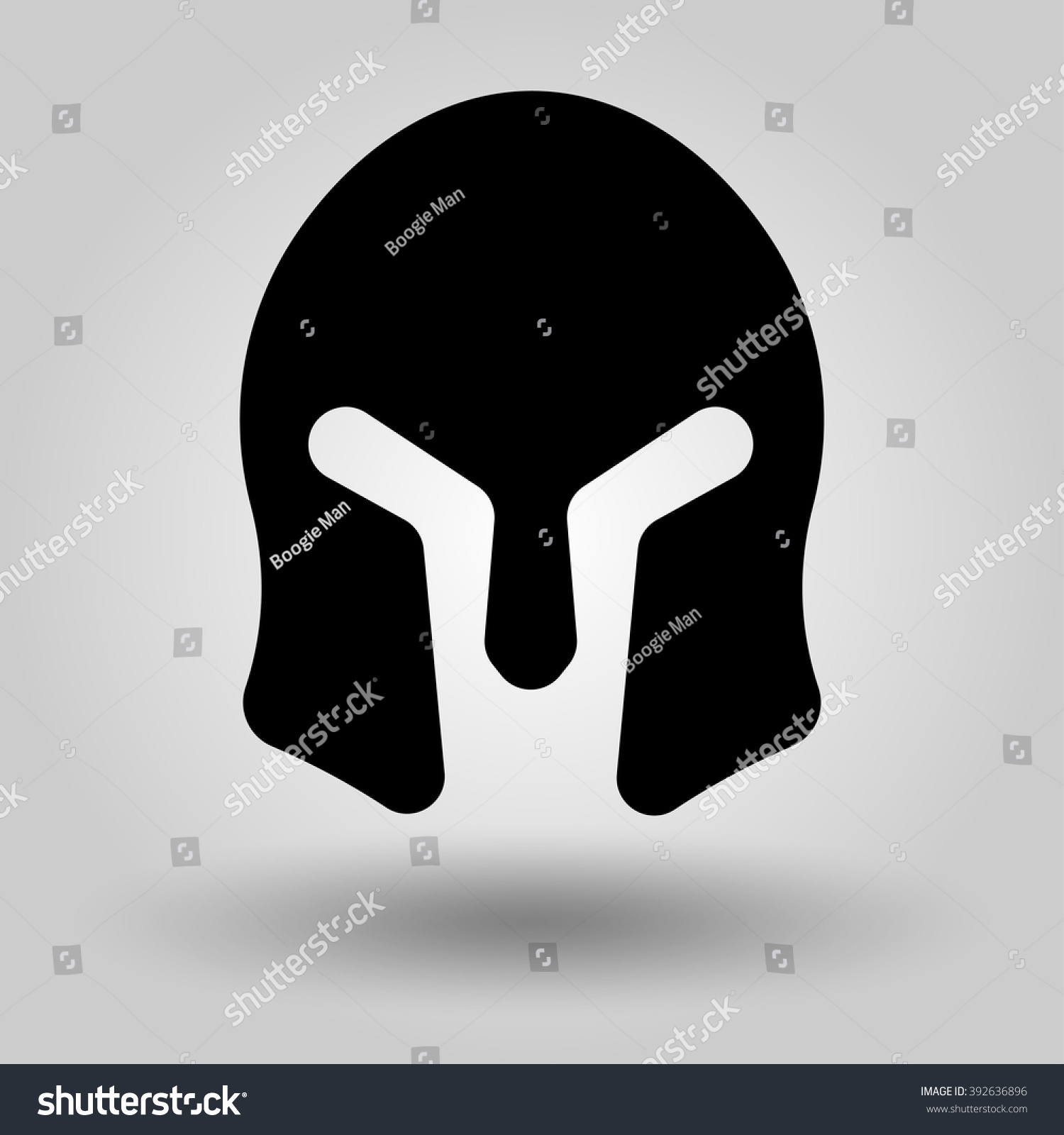 Spartan Helmet Full Face Silhouette Symbol Stock Vector Royalty