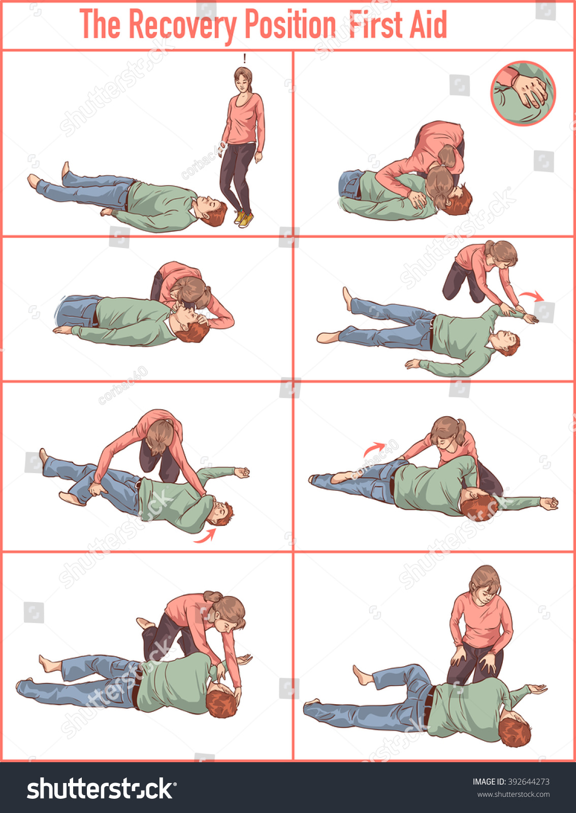 Vector Illlustration Recovery Position First Aid Stock Vector ...