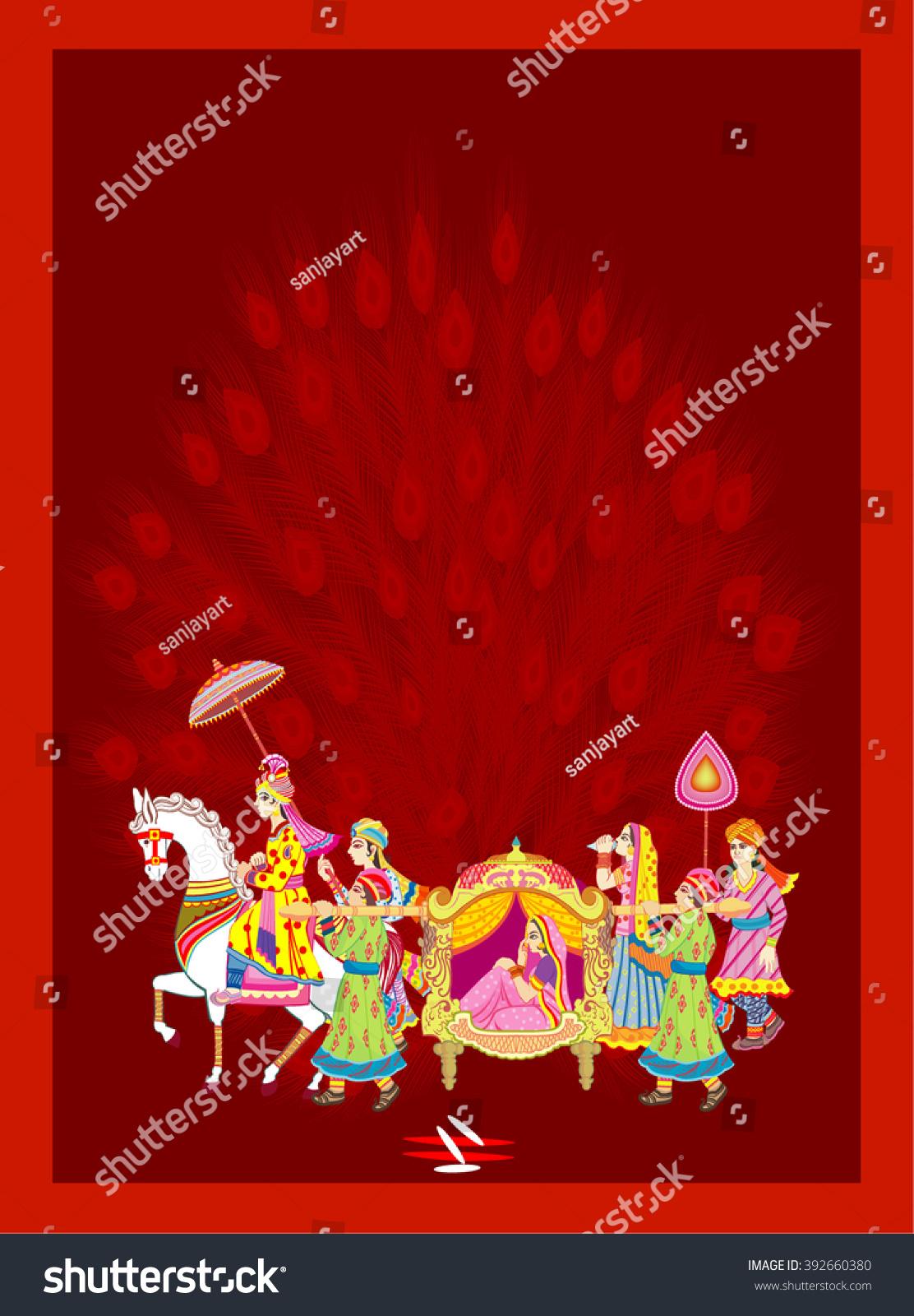Indian Hindu Wedding Invitation Card Indian Stock Vector (Royalty ...