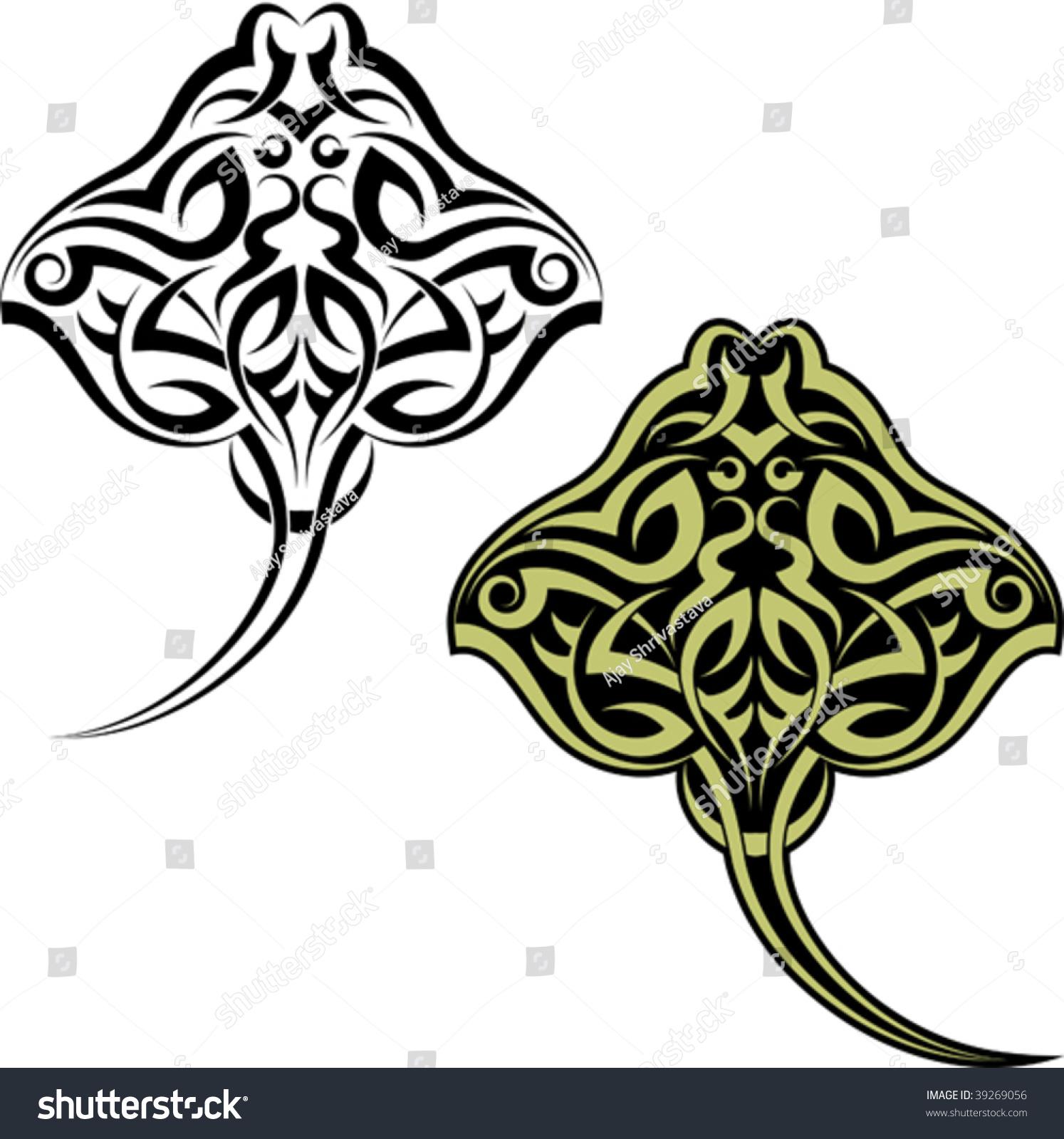 Maori Fish Tattoo: Tattoo Maori Stingray Fish Stock Vector 39269056