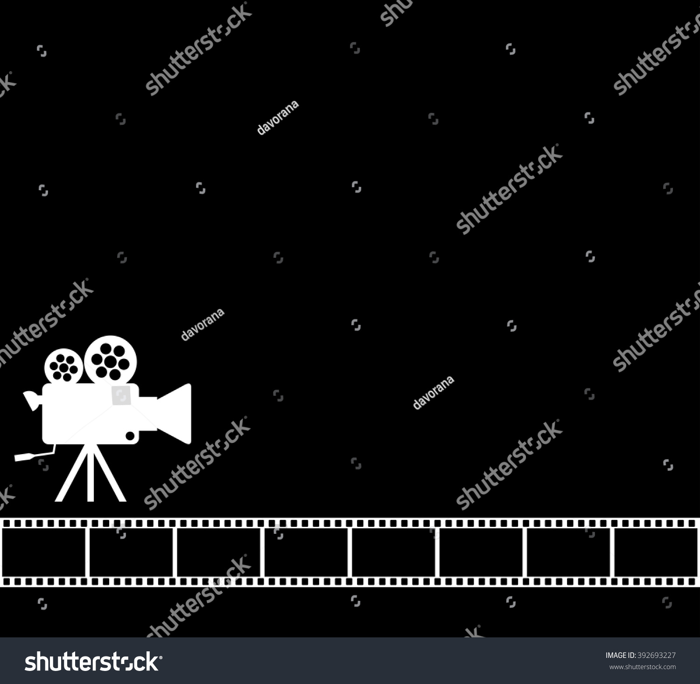 Blank Black Cinema Background Old Camera Stock Vector Royalty