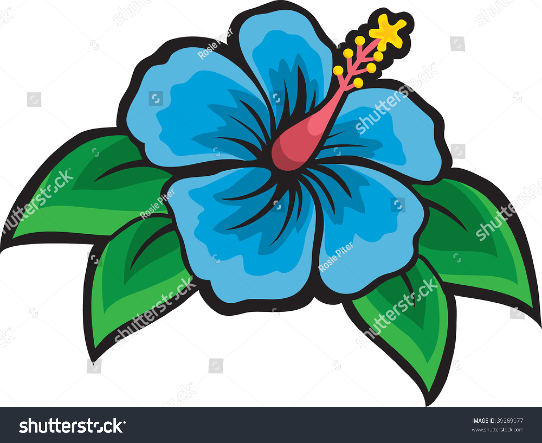 Clip Art Illustration Blue Hibiscus Flower Stock Illustration