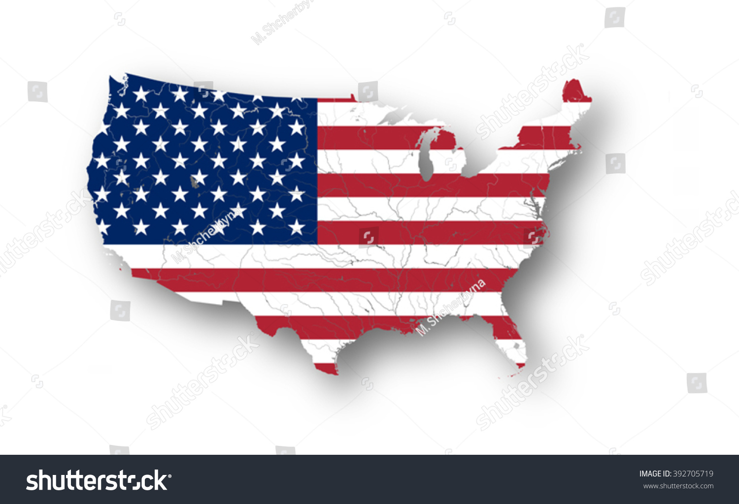 Map United States America American Flag Stock Vector - Us map american flag