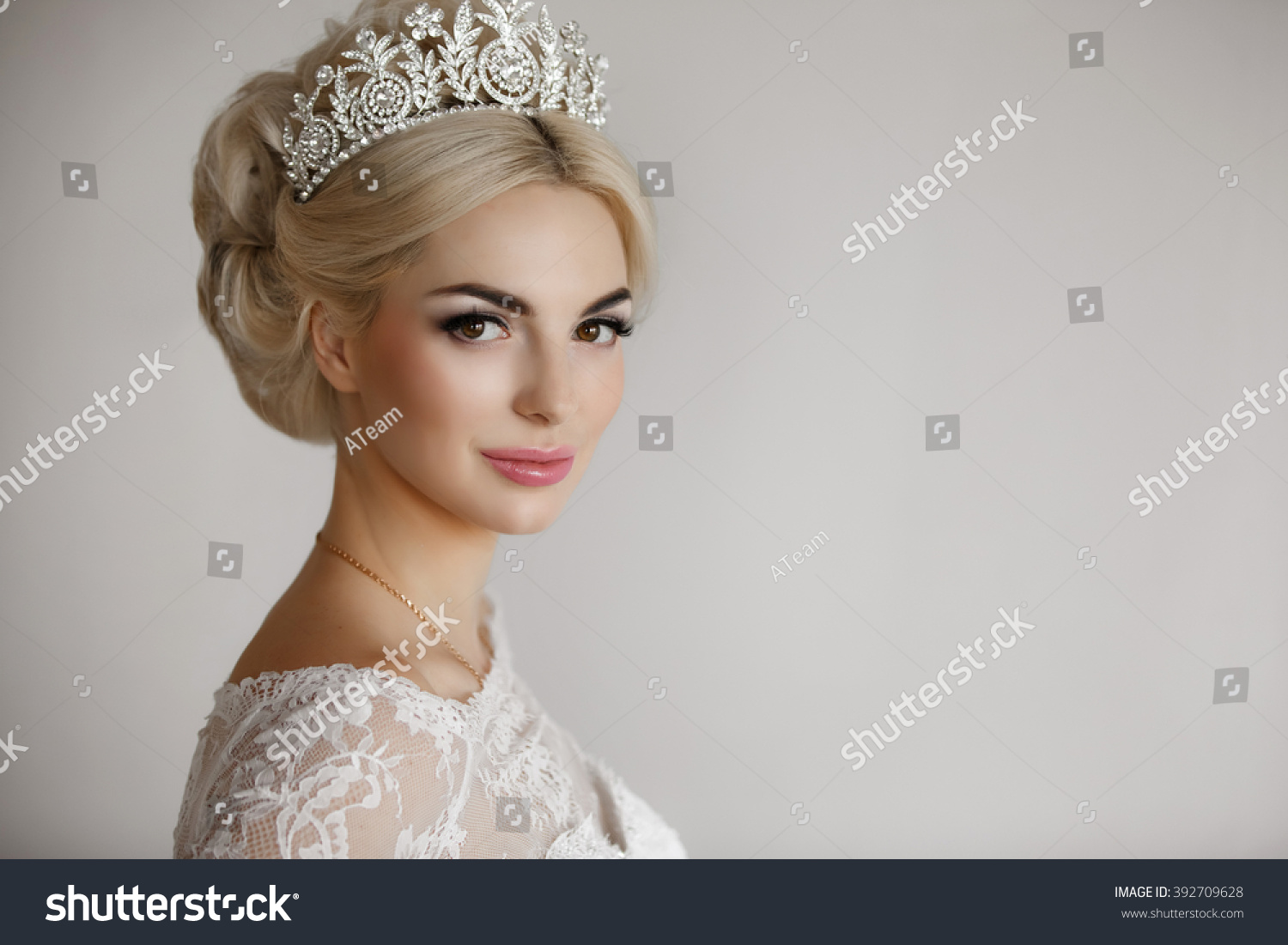Beautiful Bride Portrait Wedding Makeup Hairstyle Stock Photo ...