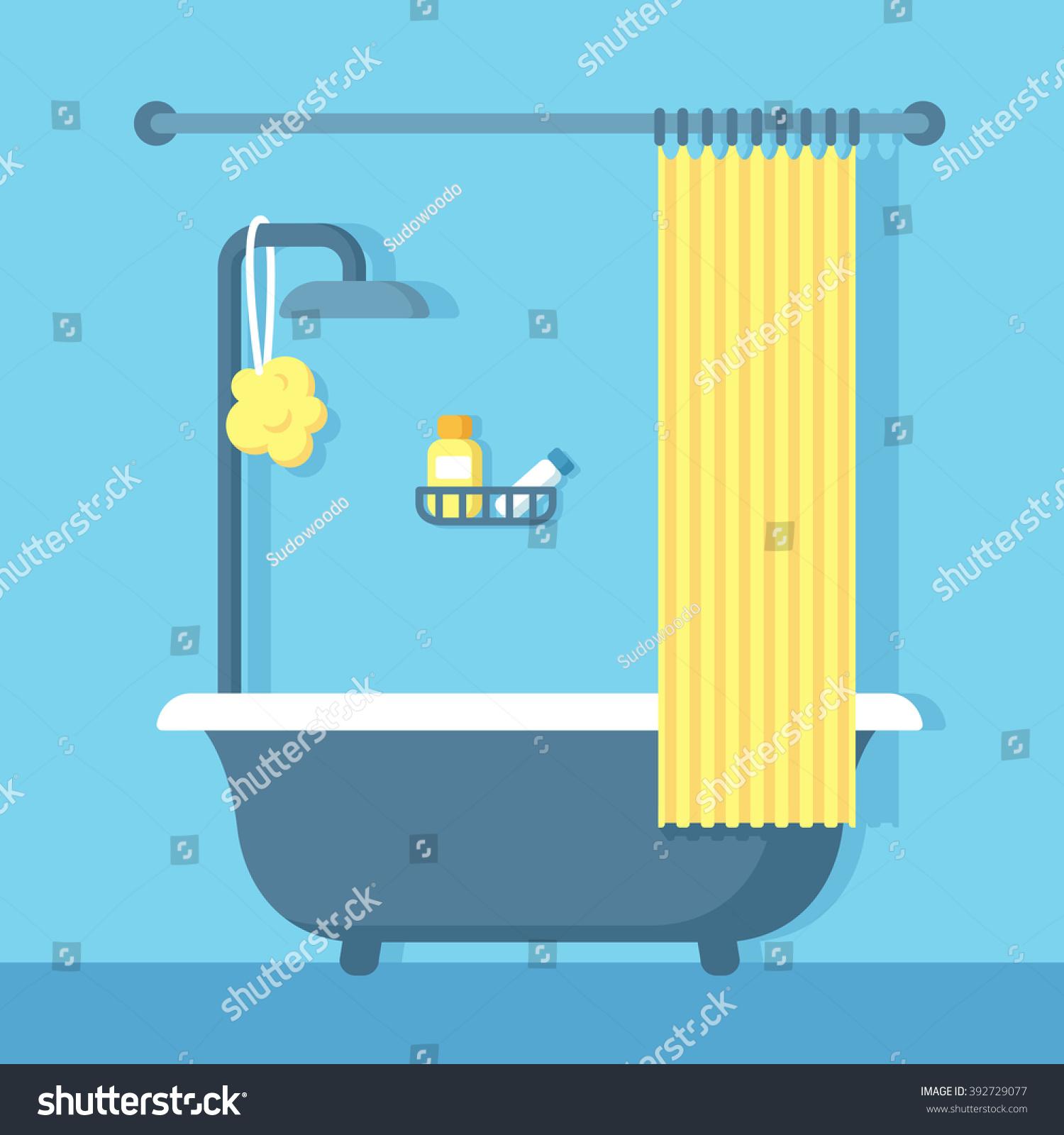 Bathroom shower interior flat cartoon vector stock vector 392729077 shutterstock - Image of bath room ...