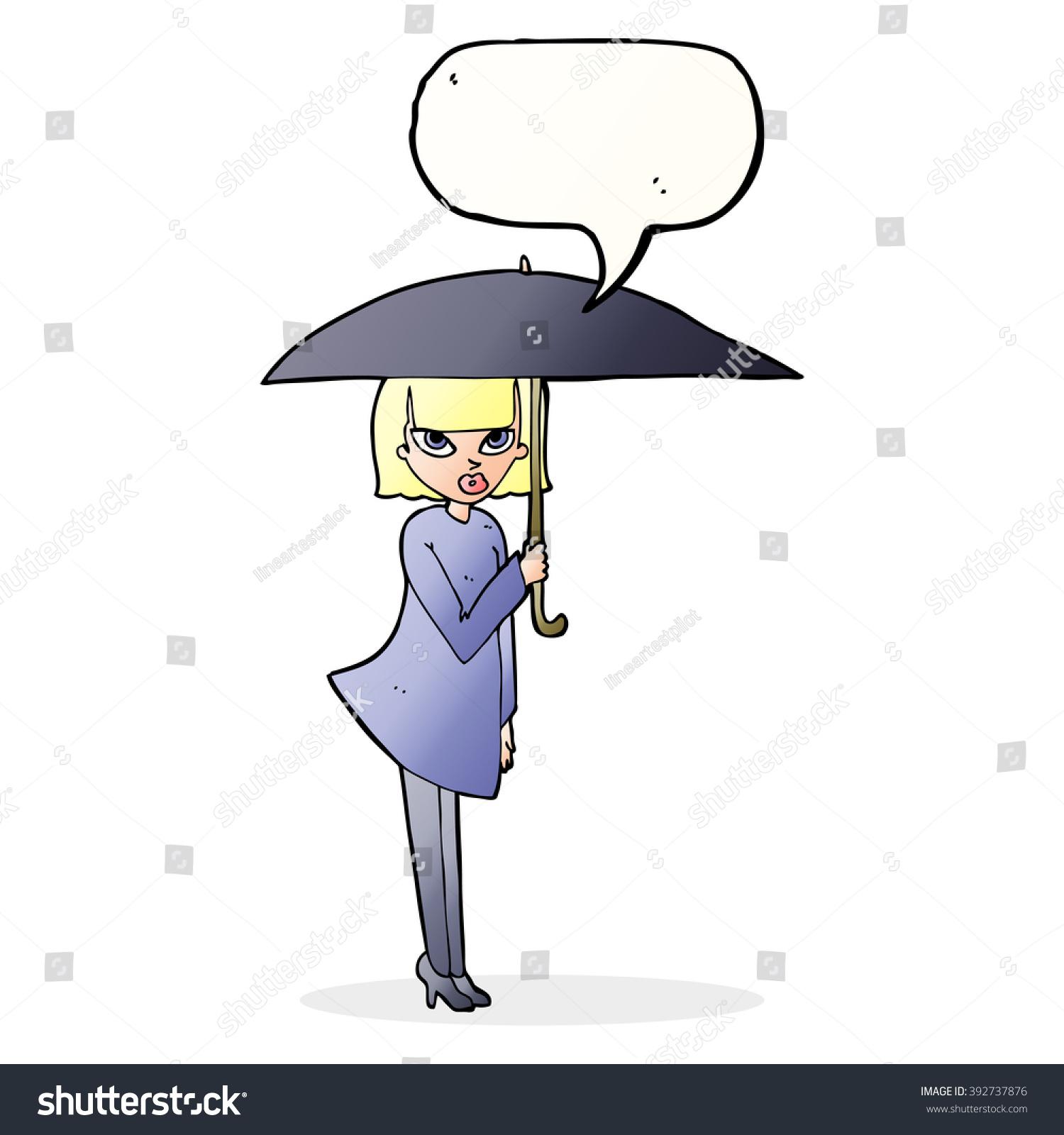 cartoon woman umbrella speech bubble stock vector 392737876