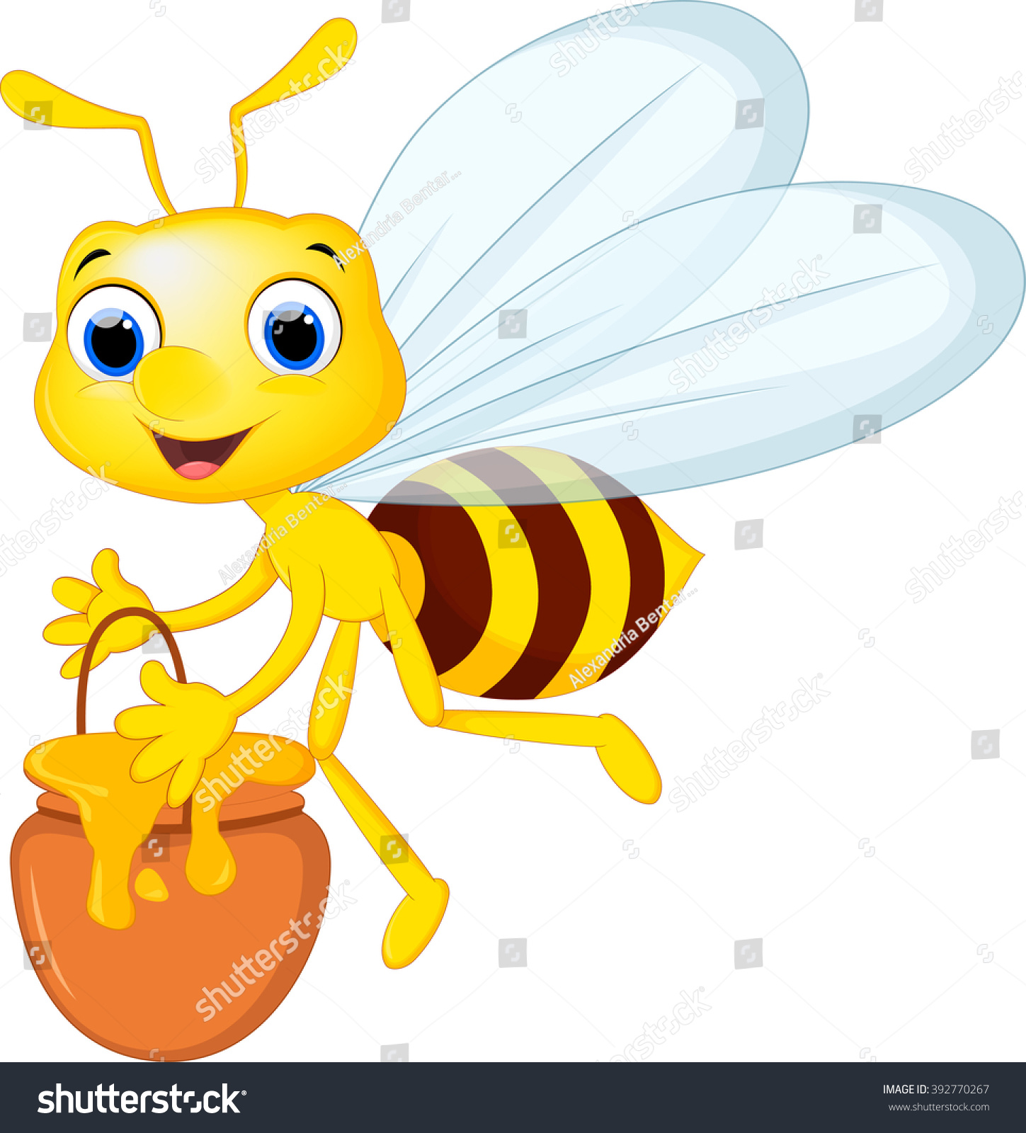 cartoon bee bring bucket honey stock vector 392770267 shutterstock