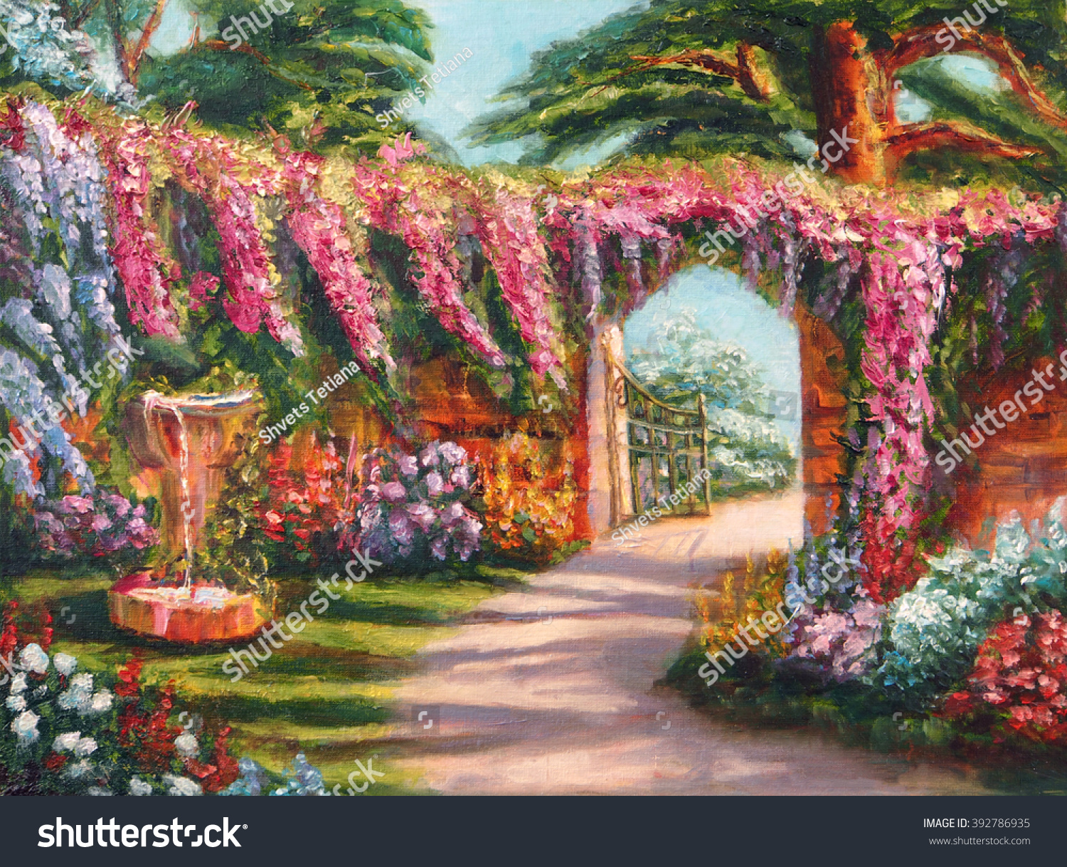 Art Oilpainting Picture Colorful Flower Fairy Stock Illustration - Patio painting