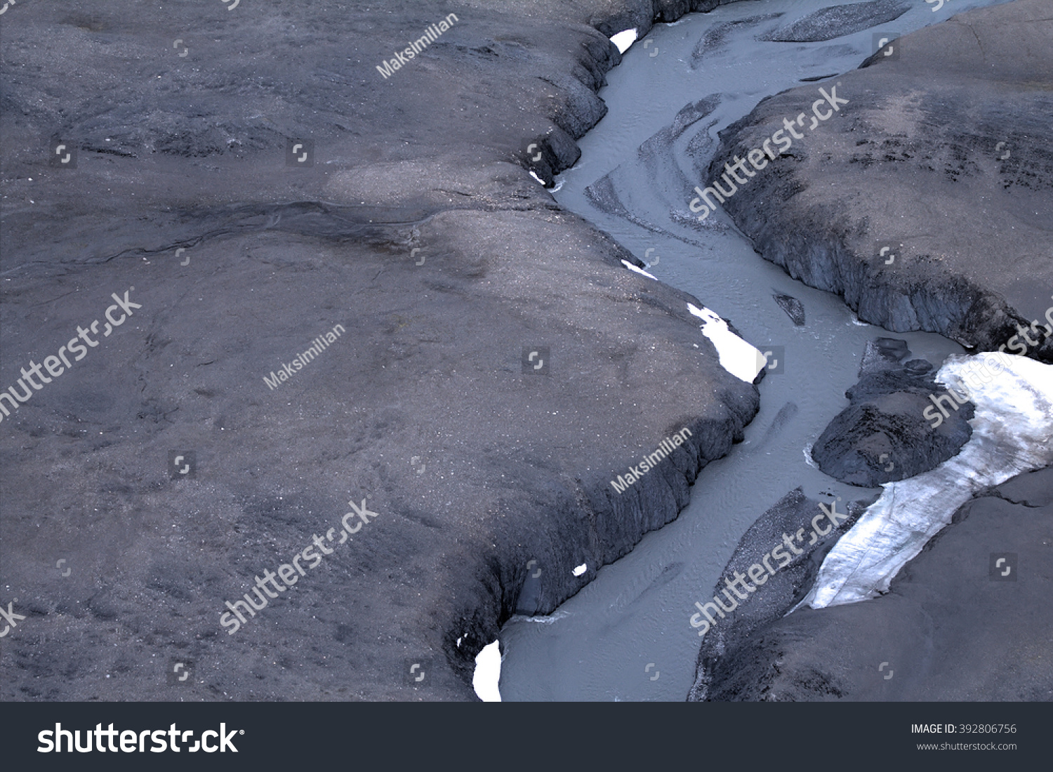 glacial spillway overland delta glacial ablation stock photo