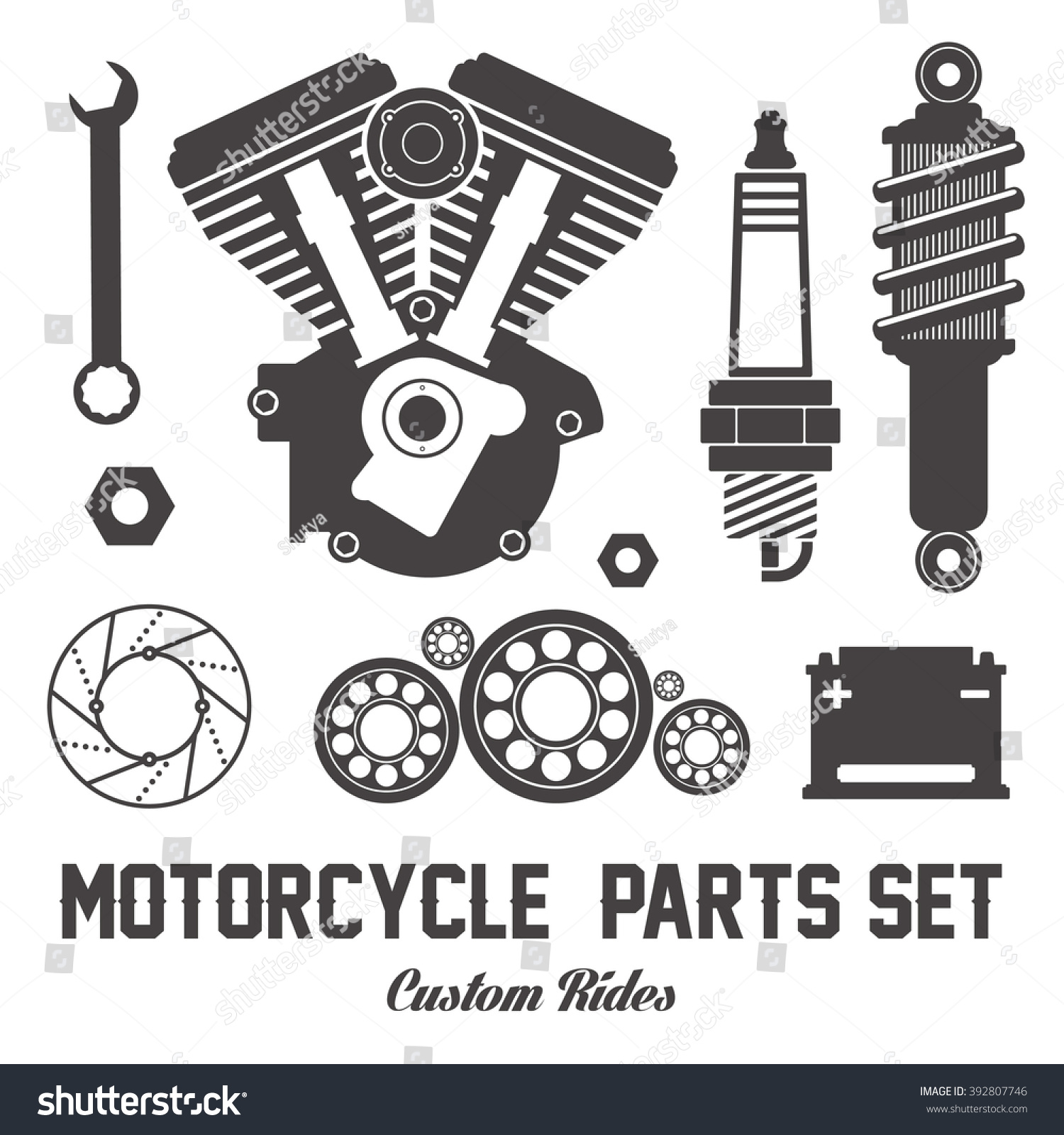Parts of a poster design - Motorcycle Parts Items Vector Flat Set On White Background For Icon Logo Banner Poster Design