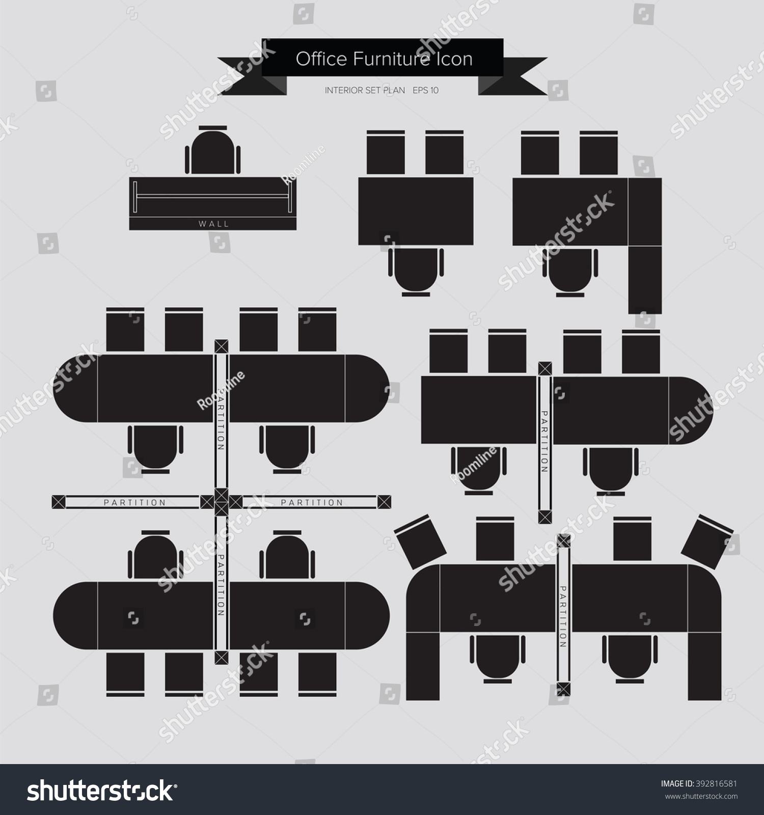 Office furniture top view - Office Furniture Icon Top View For Interior Plan Vector Eps10