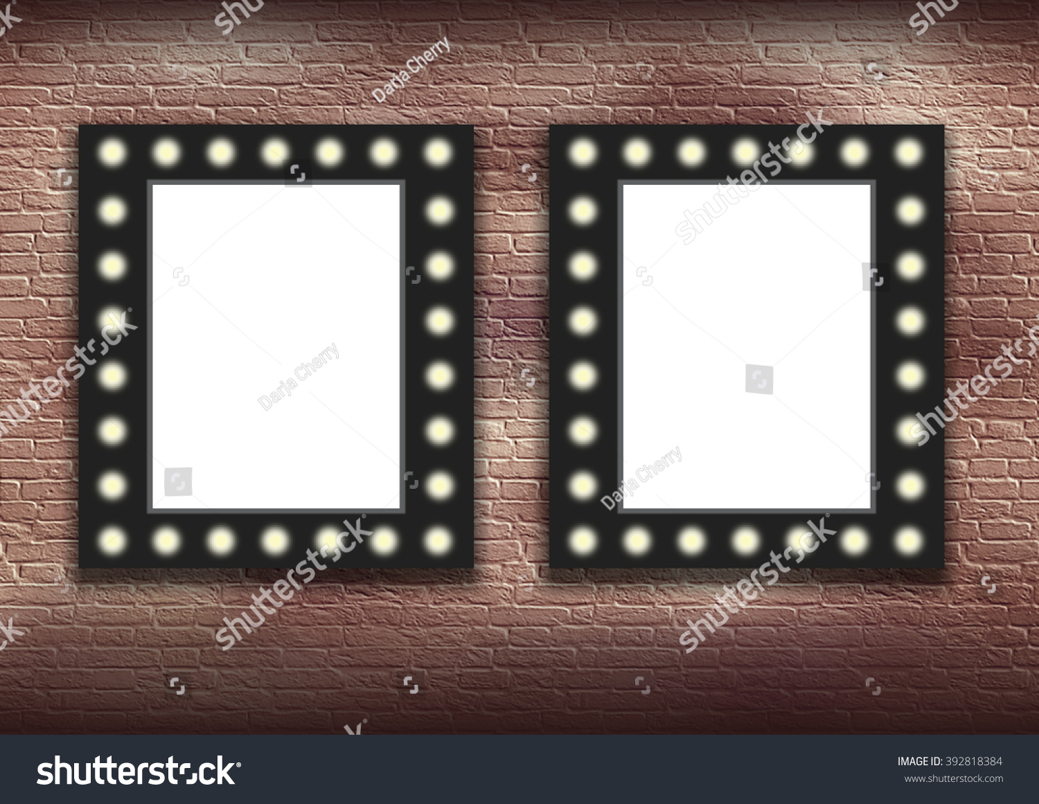 double frame mock up volumetric background on marquee frame lit up with electric bulbs - Double Picture Frame