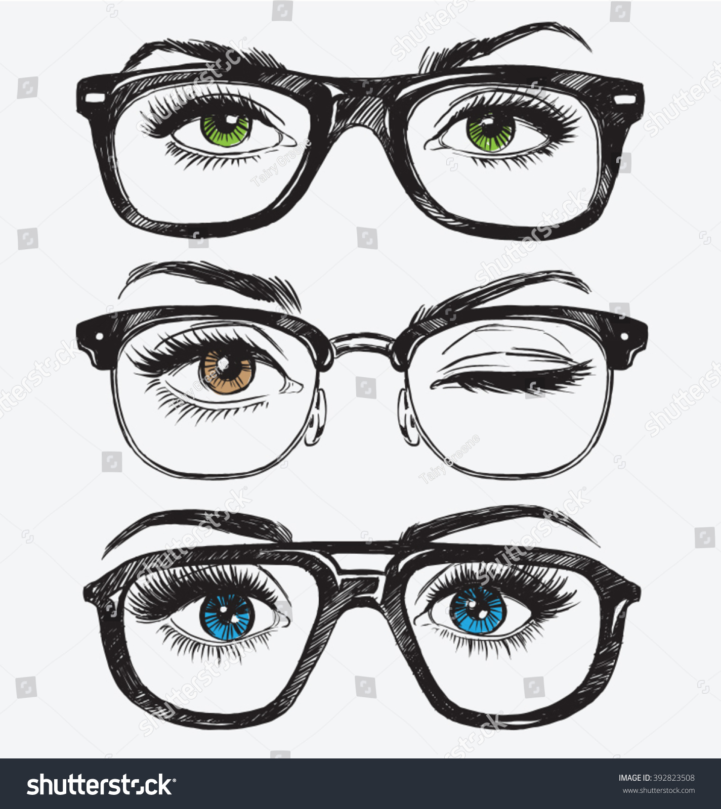 Set Of Hand Drawn Women'S Eyes With Hipster Glasses Stock ...